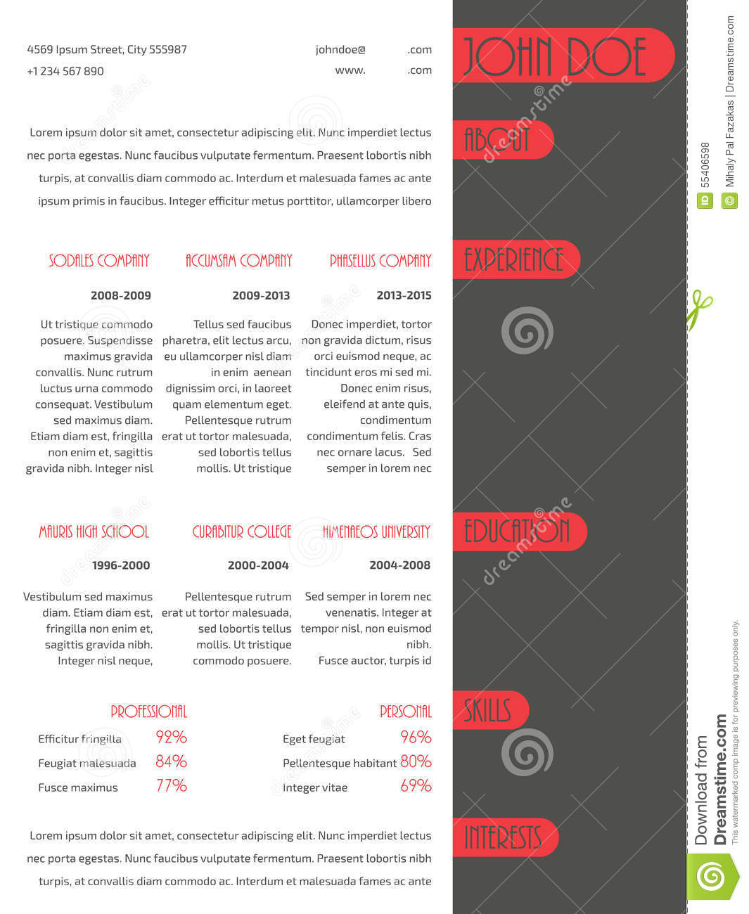 simplistic resume curriculum vitae template red stripes stock simplistic resume curriculum vitae template red stripes