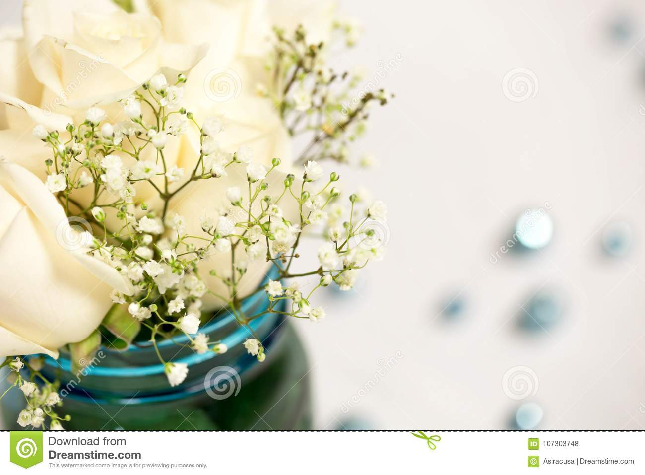 Simplistic And Rustic Blue And White Flower Table Arrangement ...