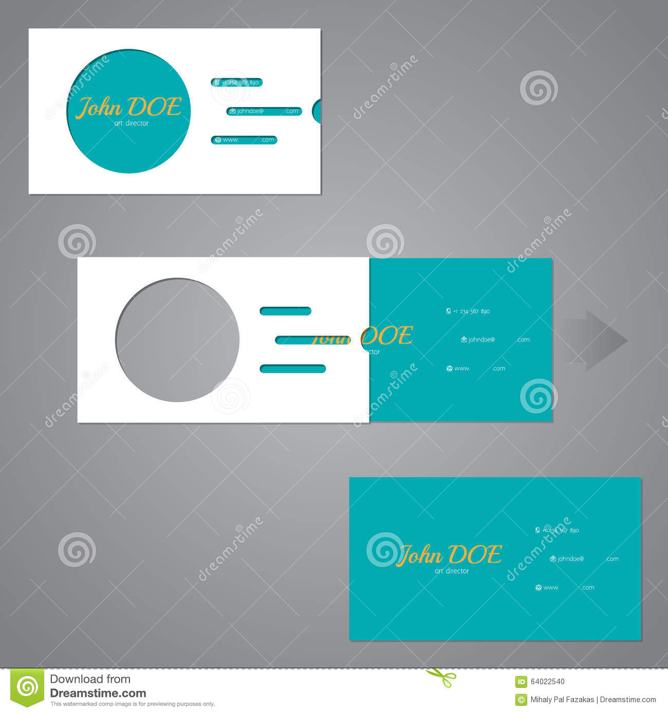 Simplistic Two Piece Business Card With Circle And Lines Stock ...