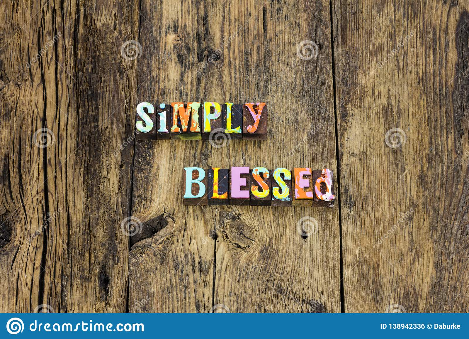 Simply blessed happy grateful kind typography type