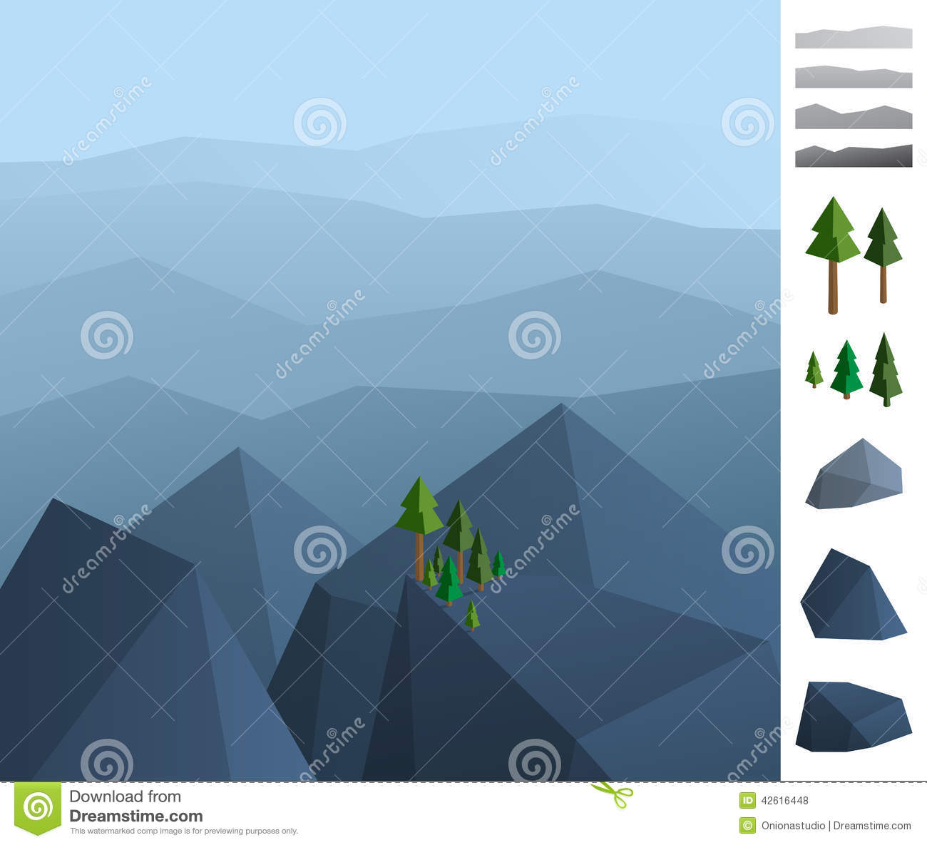 More similar stock images of 3d landscape with fall tree - Simply Geometric Illustration Of Rock Mountains Landscape Royalty Free Stock Photos