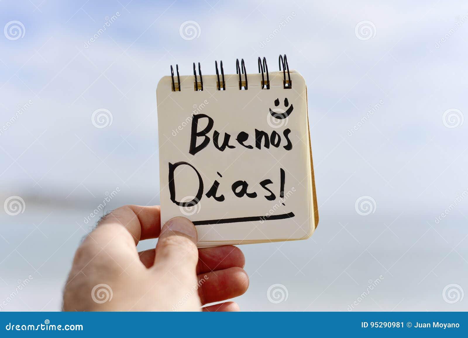 Simsen Sie Buenos Dias Guten Morgen Auf Spanisch Stockbild