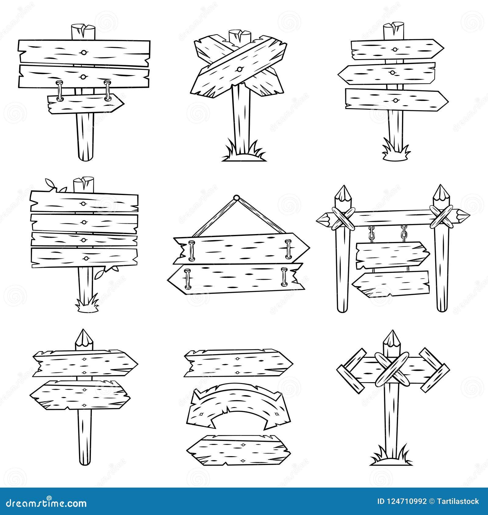 Sinais da madeira da garatuja Esboço de madeira tirado mão do letreiro e das setas Cargo de sinal retro da estrada da rua que mos