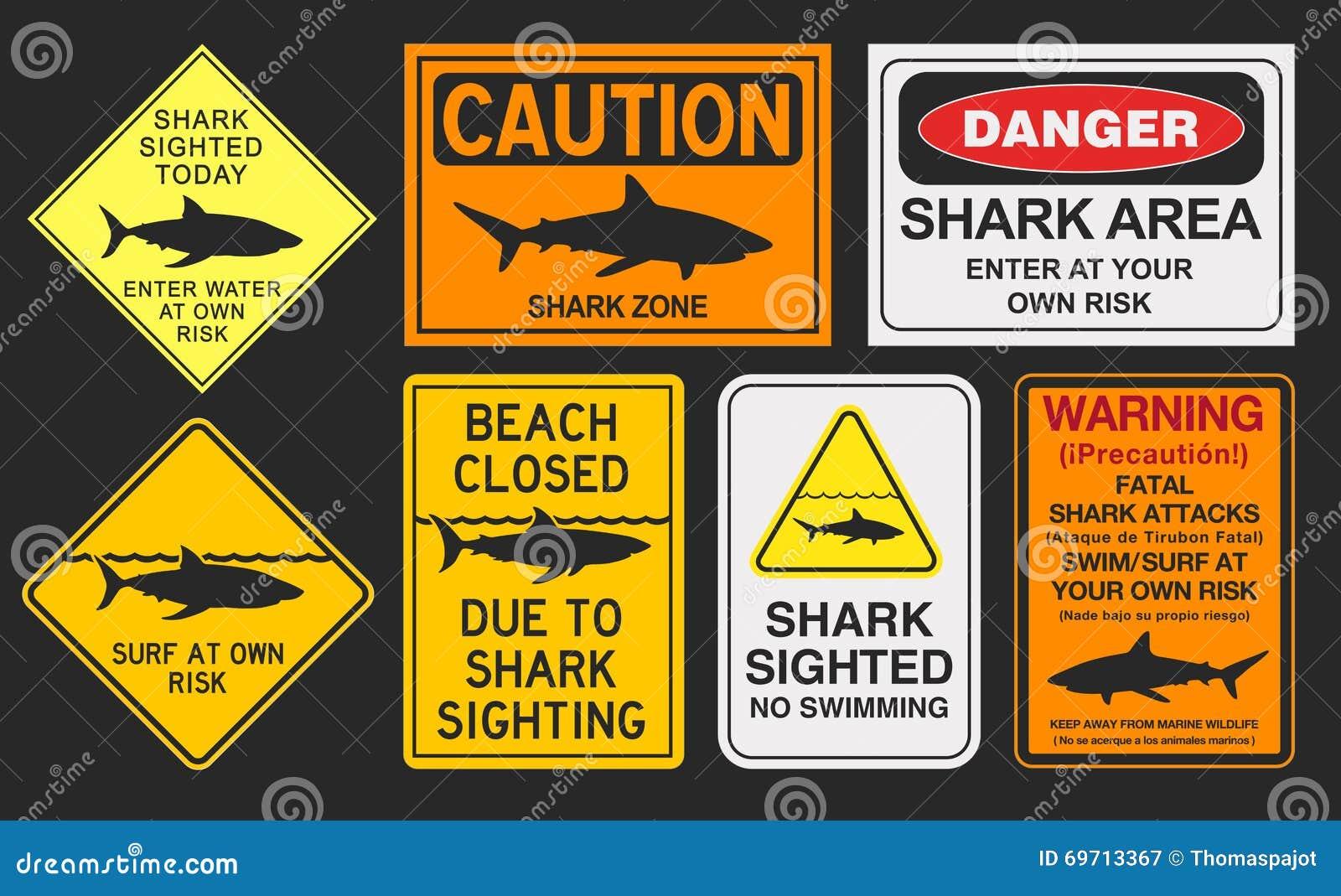 Sinais de aviso do tubarão