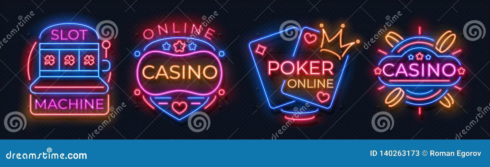 Sinais de néon do casino Bandeiras do jackpot do slot machine, quadro de avisos da noite da barra do pôquer, roleta de jogo Néon