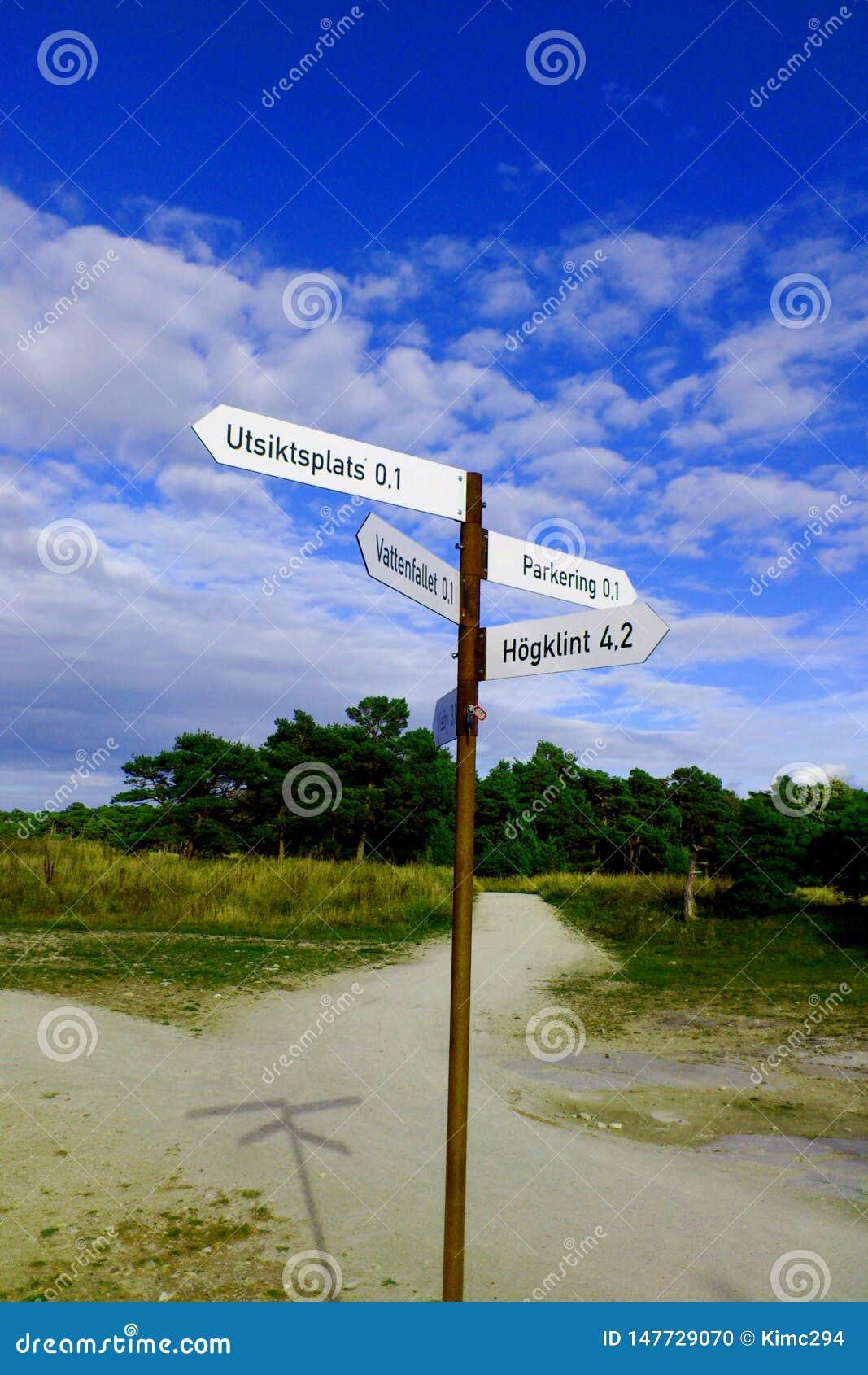 Sinais de sentido no hallarna de Sodra, Visby, Gotland, Suécia