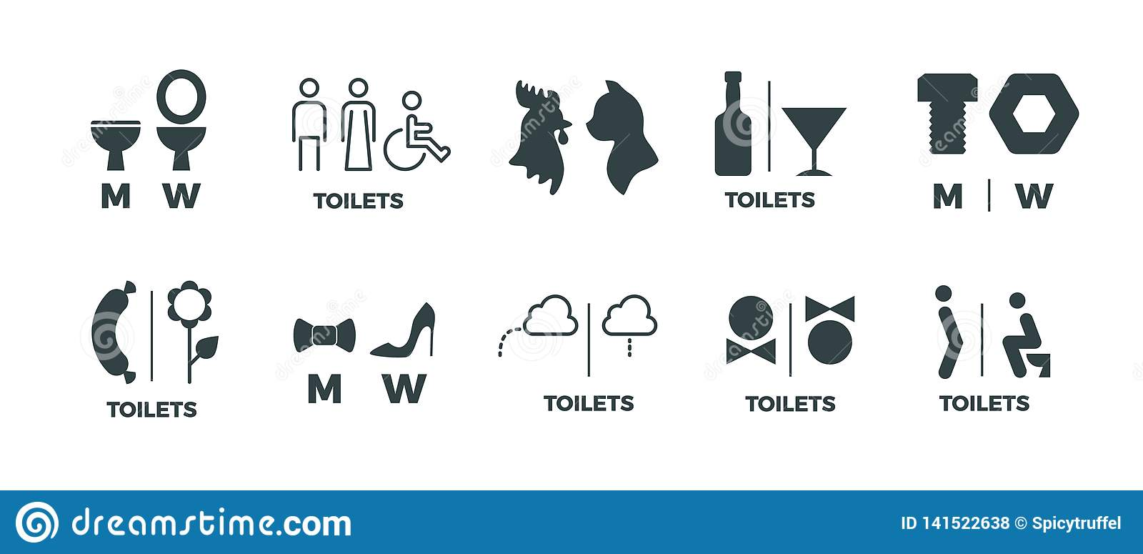 Sinais do toalete Ele ela sinais de sentido do banheiro dos símbolos, do homem e da mulher da porta do WC Ícones engraçados do ve