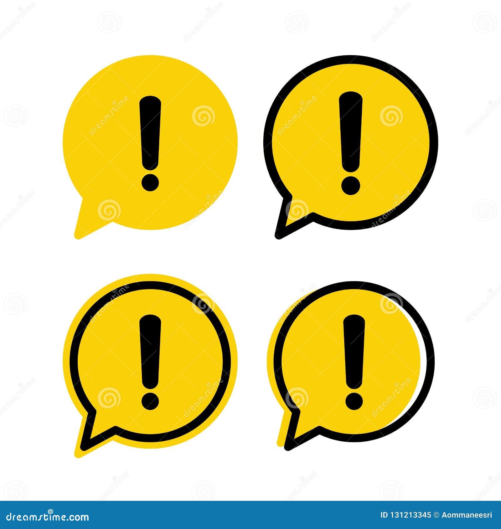 Sinal amarelo da atenção do aviso do perigo em um grupo da bolha do discurso