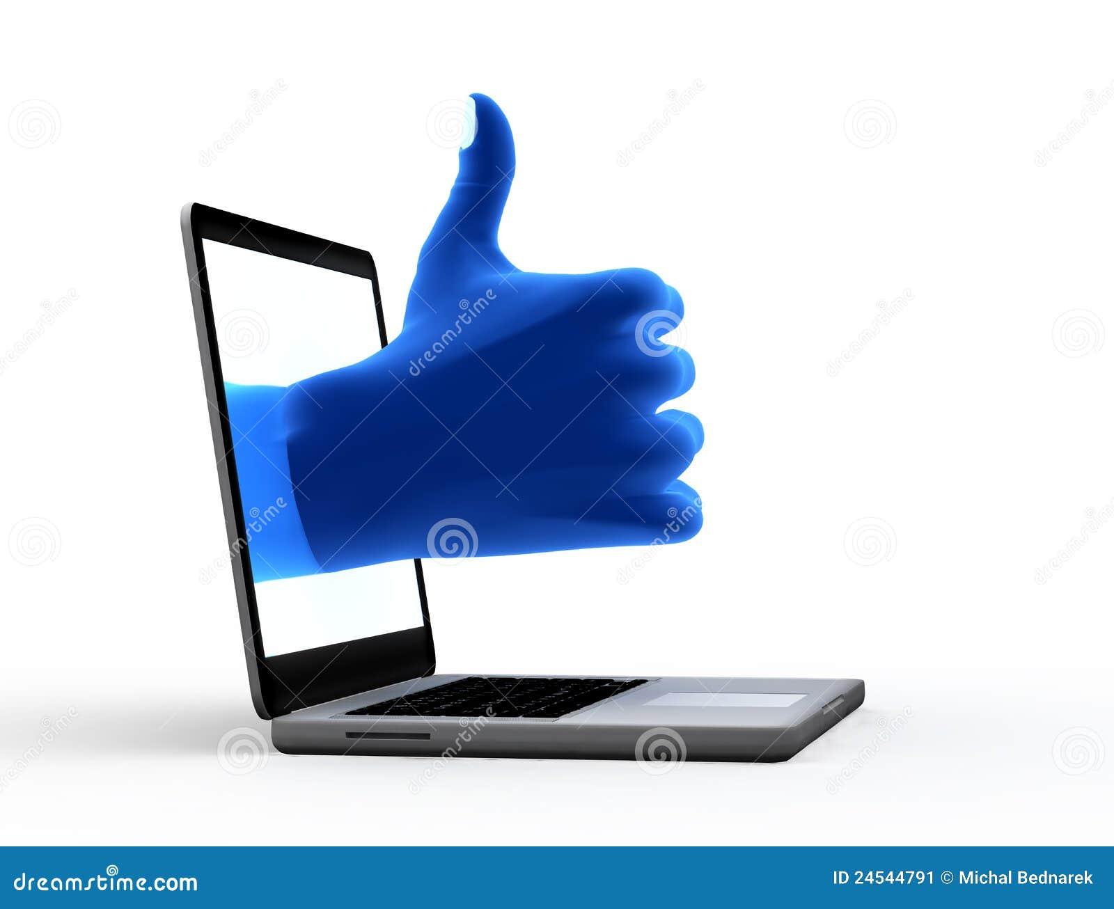 Sinal aprovado. Mão azul da tela