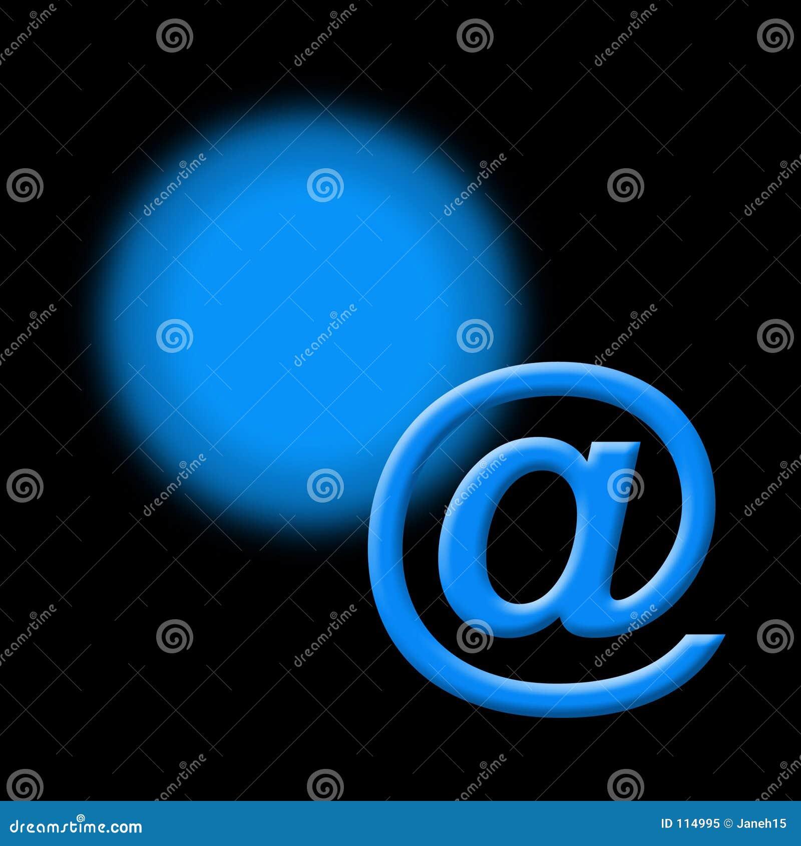 Sinal azul do email no preto
