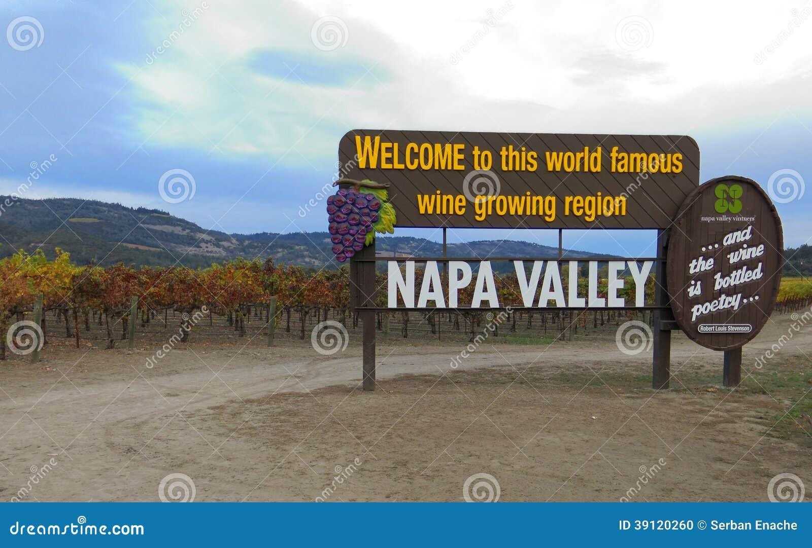 Sinal bem-vindo de Napa Valley Califórnia