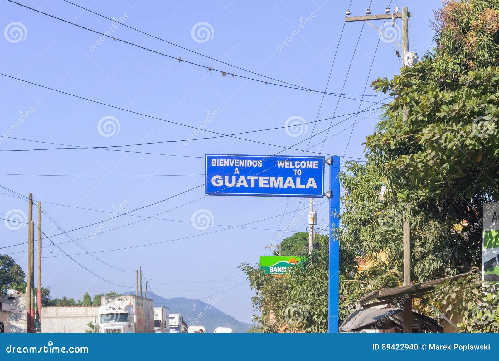 Sinal bem-vindo na beira das Honduras e da Guatemala no EL Florido