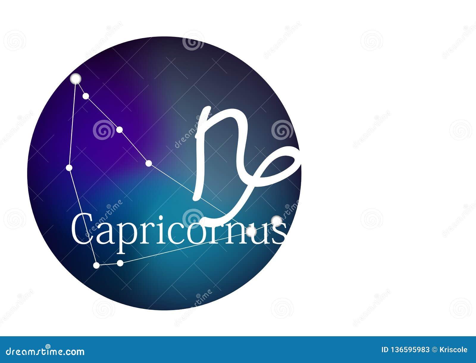 Sinal Capricornus do zodíaco para o horóscopo, a constelação e o símbolo no quadro redondo