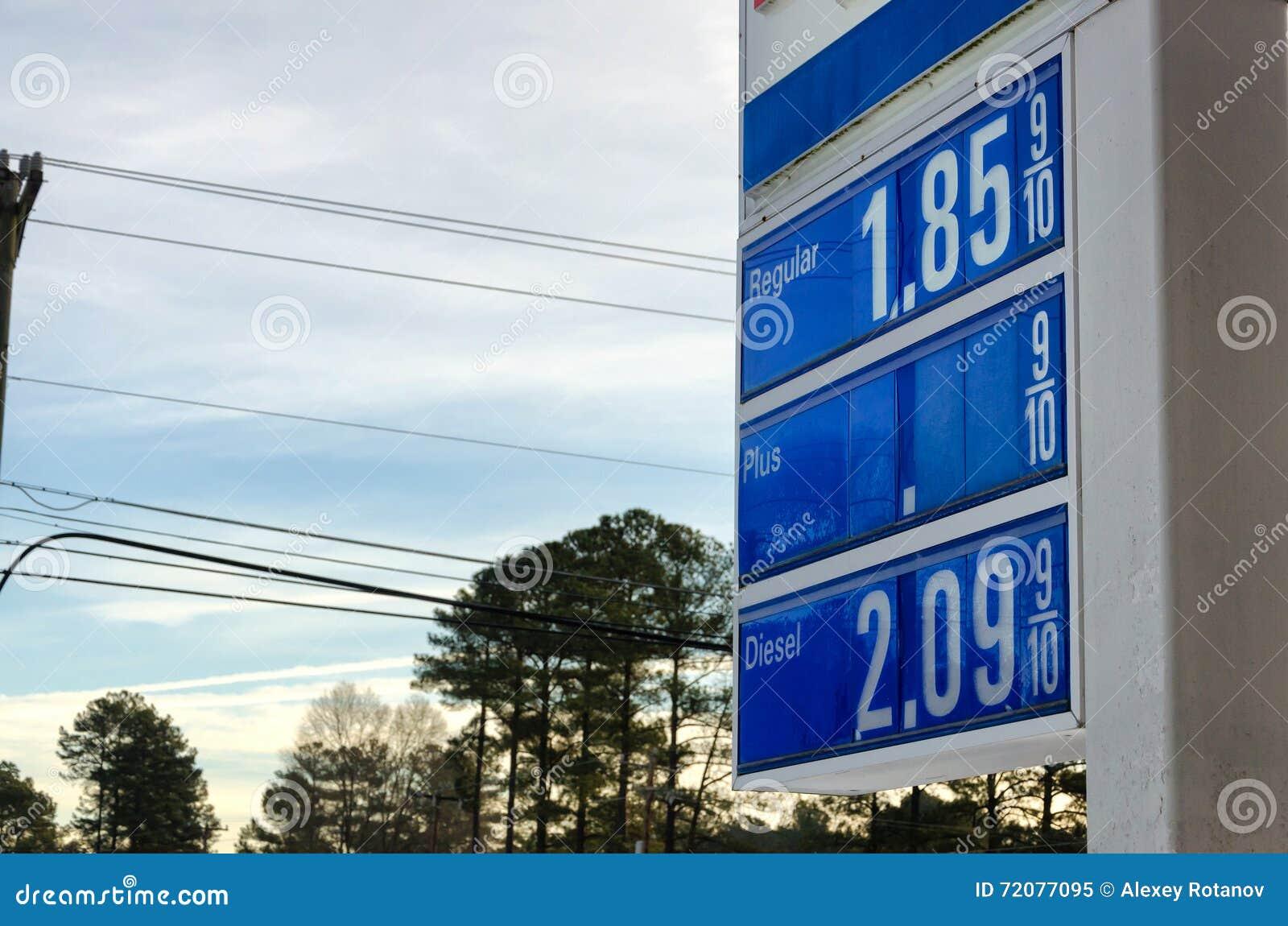 Sinal com preços de gás