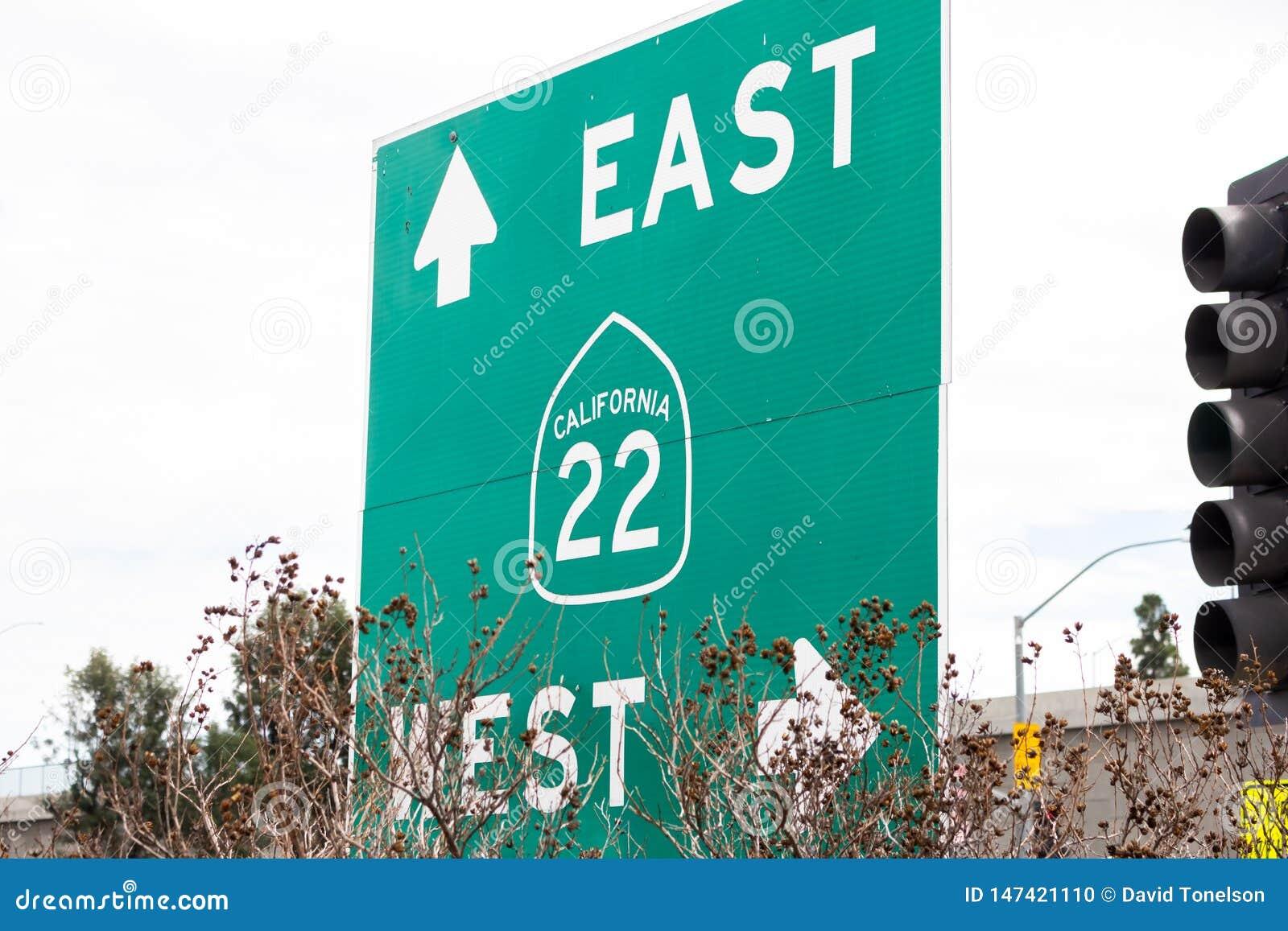 Sinal da autoestrada de Califórnia 22