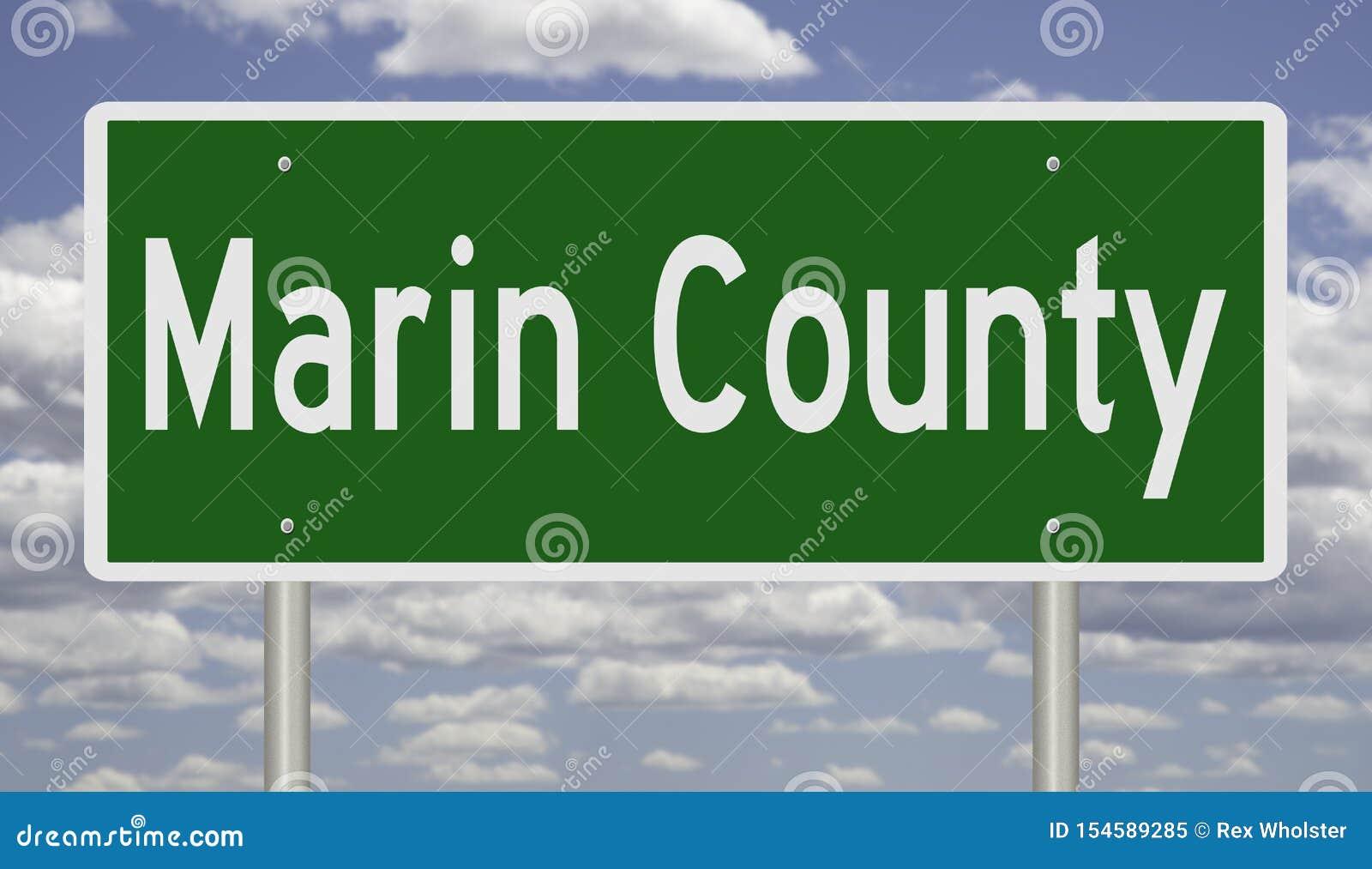 Sinal da estrada para Marin County California