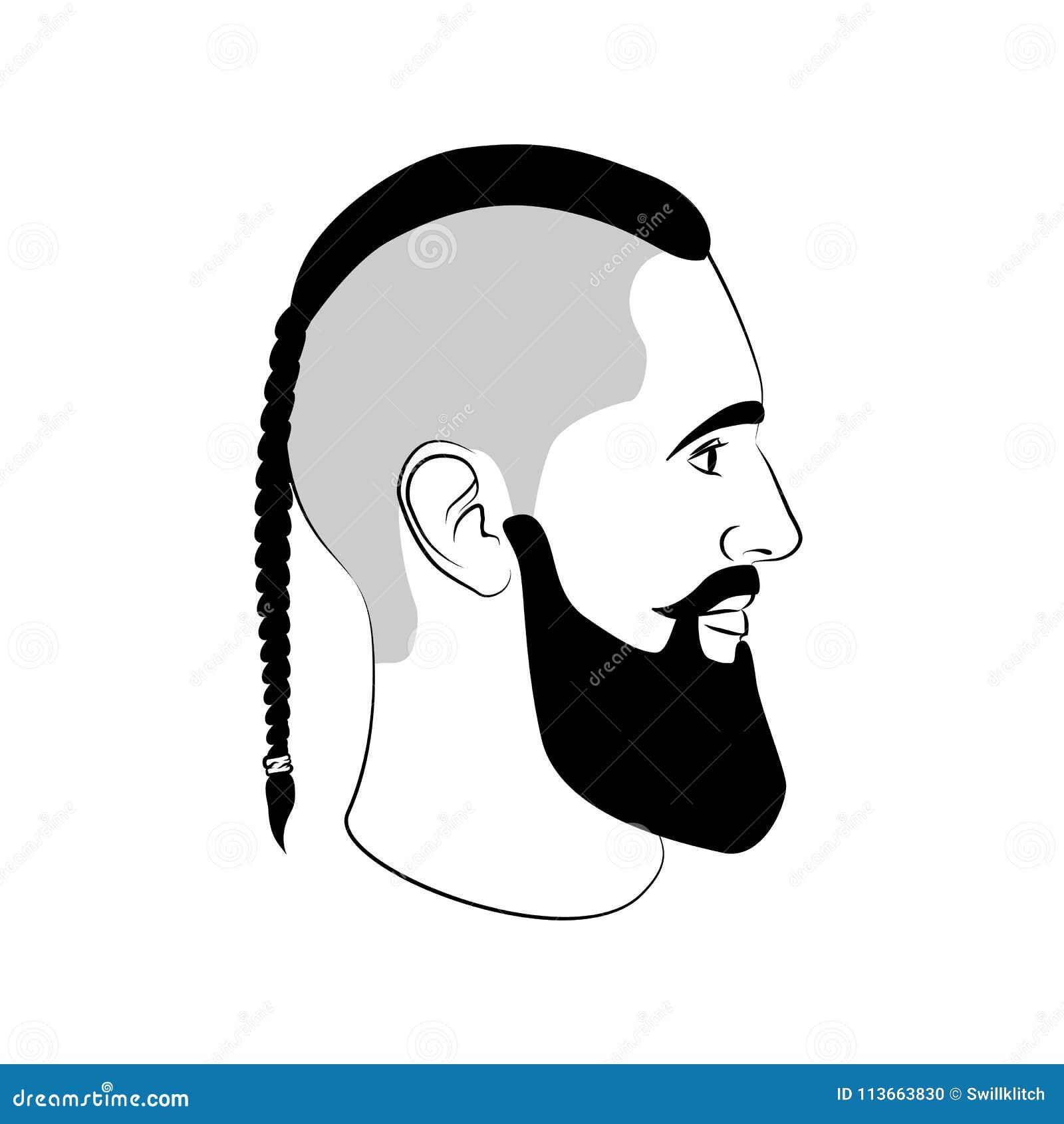 Sinal Da Forma Do Corte De Cabelo De Viking Com Trança E