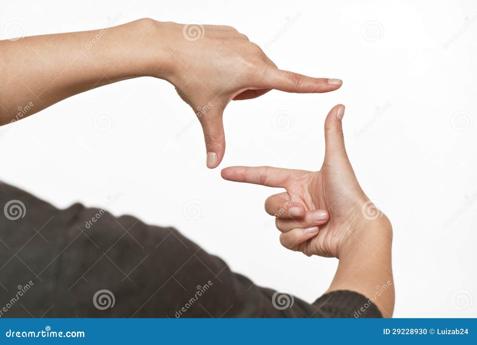 Download Sinal Da Foto Feito Pelas Mãos Humanas No Fundo Branco Foto de Stock - Imagem de creatividade, closeup: 29228930