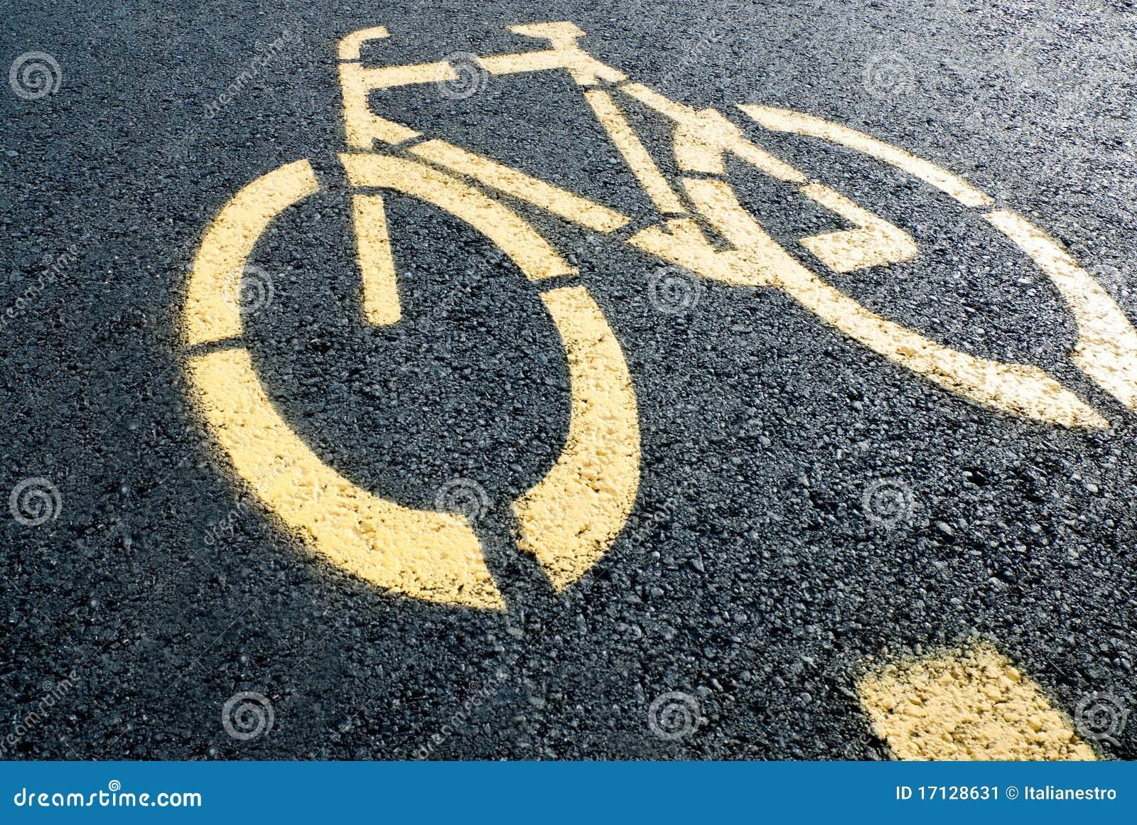 Sinal da pista de bicicleta na estrada
