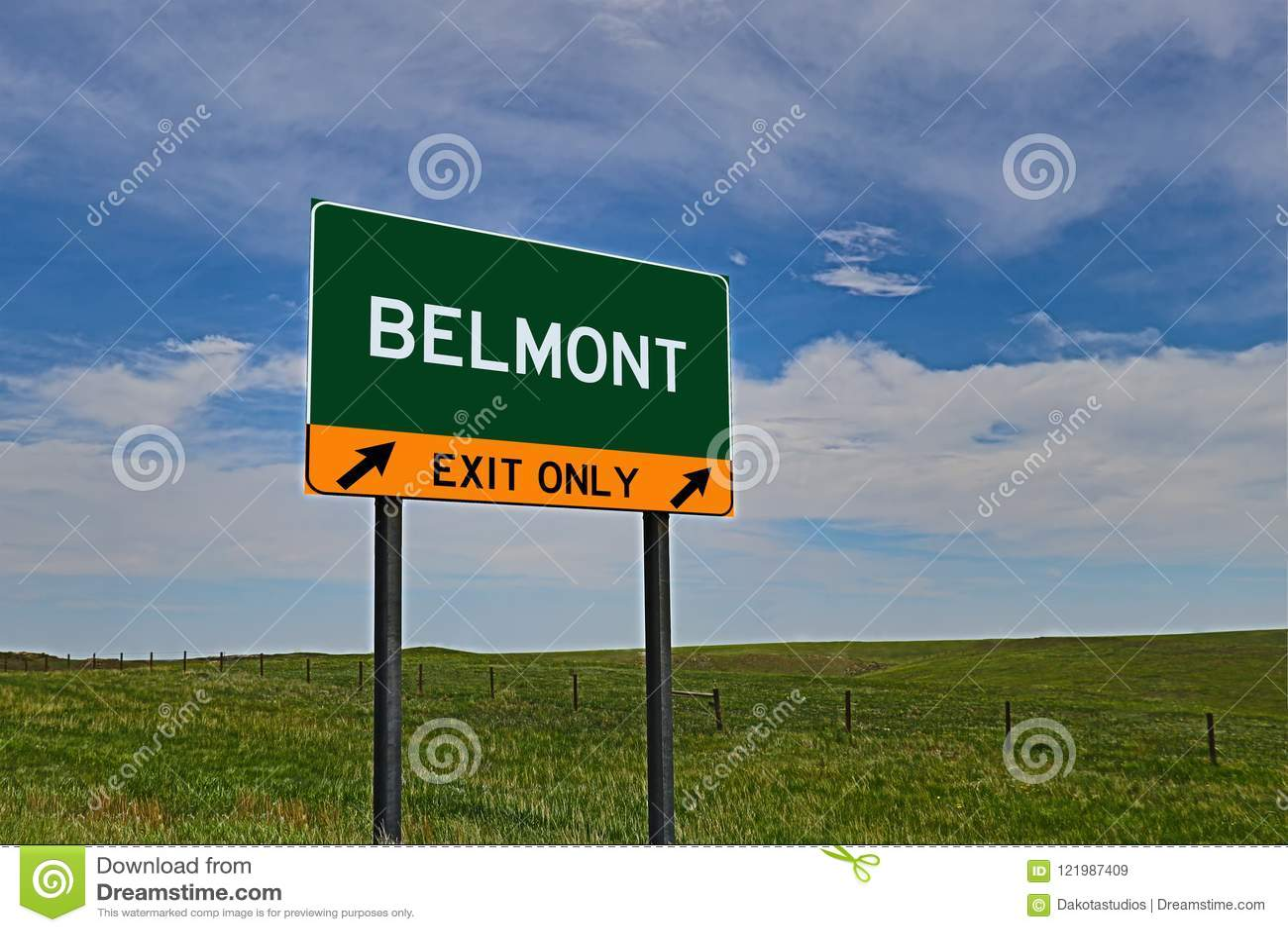 Sinal da saída da estrada dos E.U. para Belmont