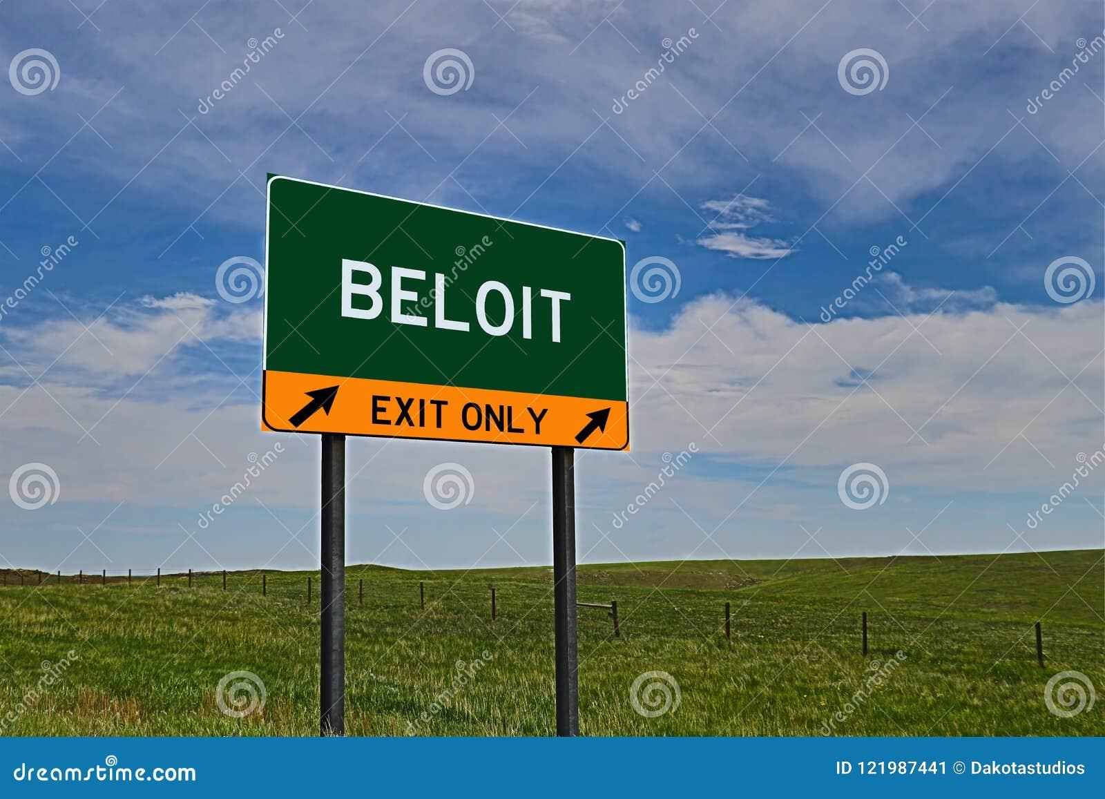Sinal da saída da estrada dos E.U. para Beloit