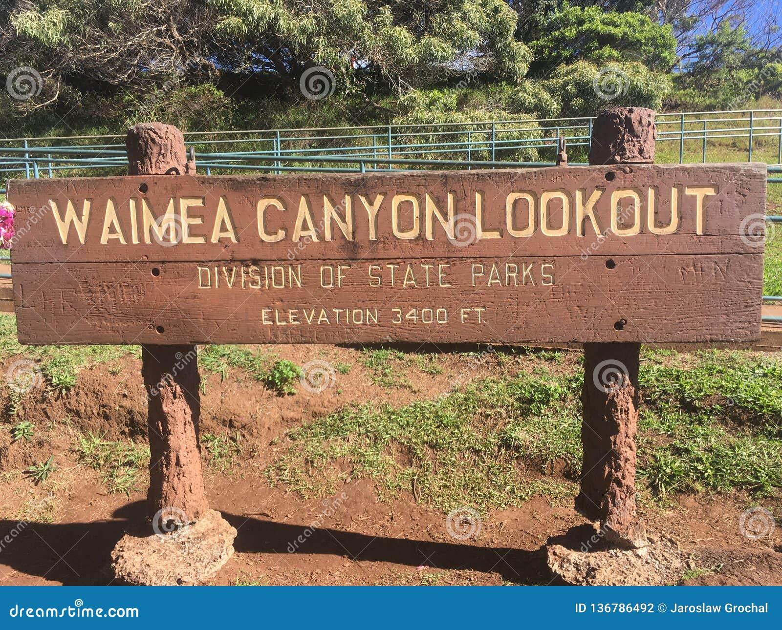 Sinal da vigia do parque da garganta de Waimea