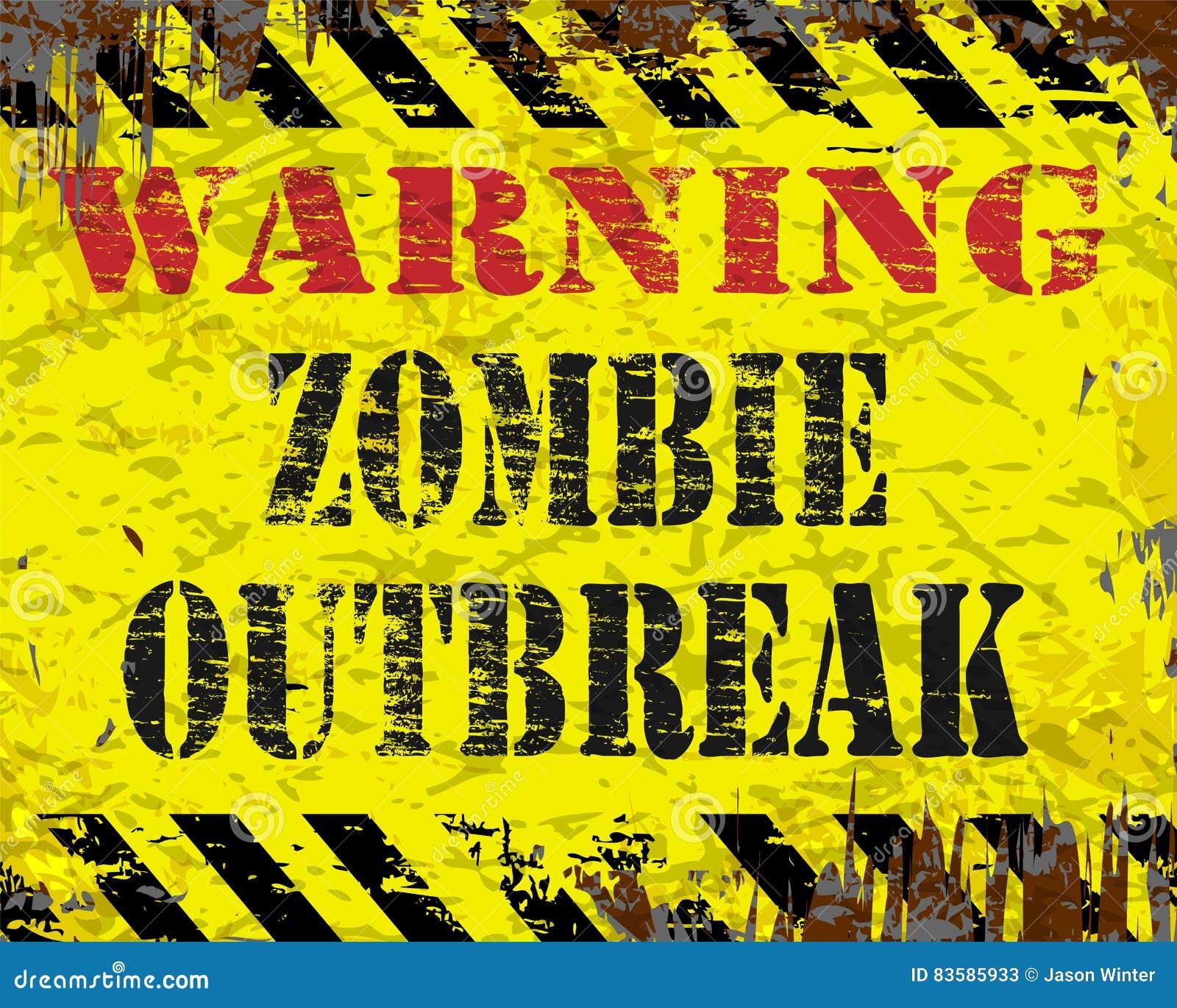 Sinal de advertência da manifestação do zombi
