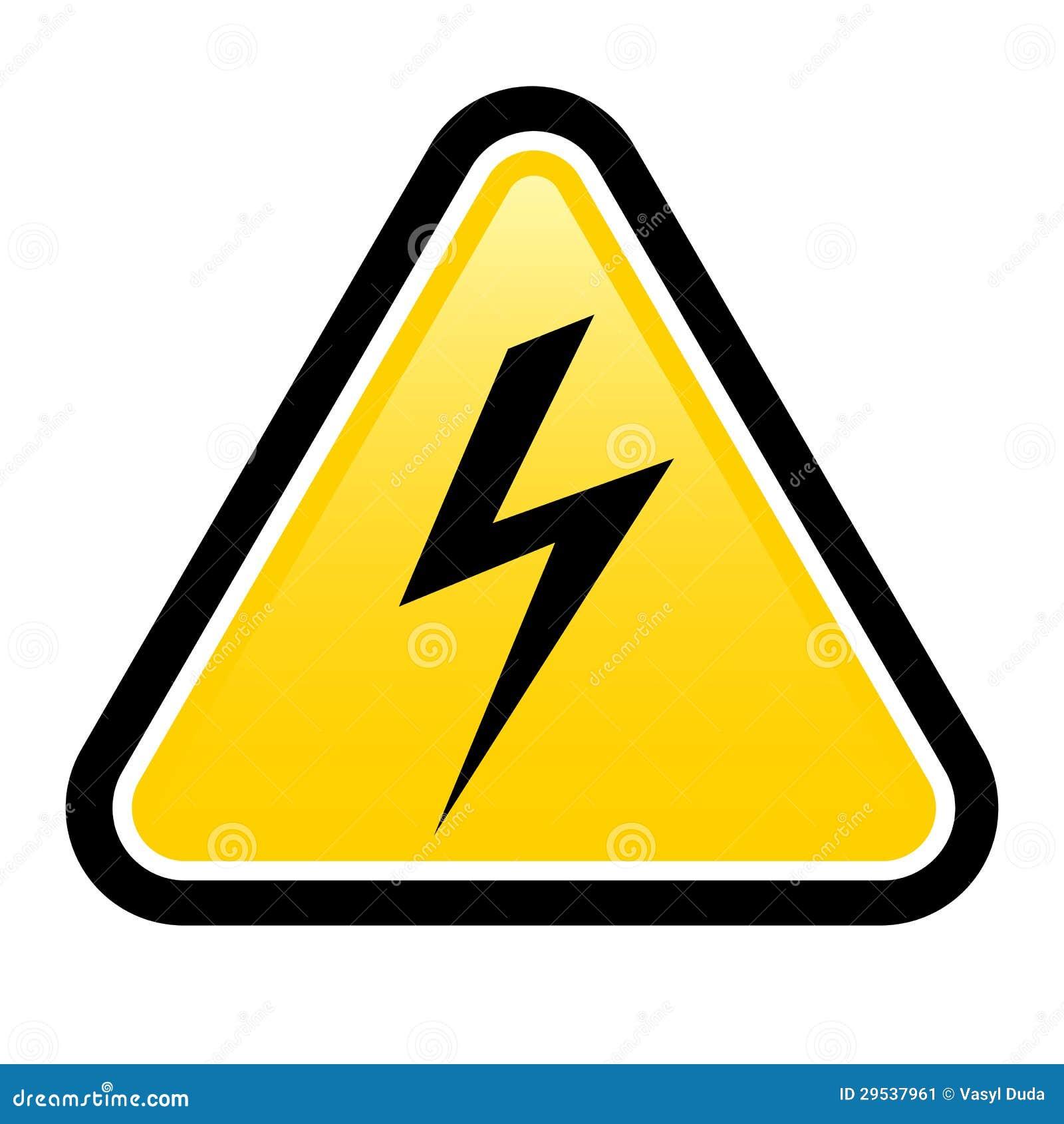 Sinal de aviso amarelo de alta tensão