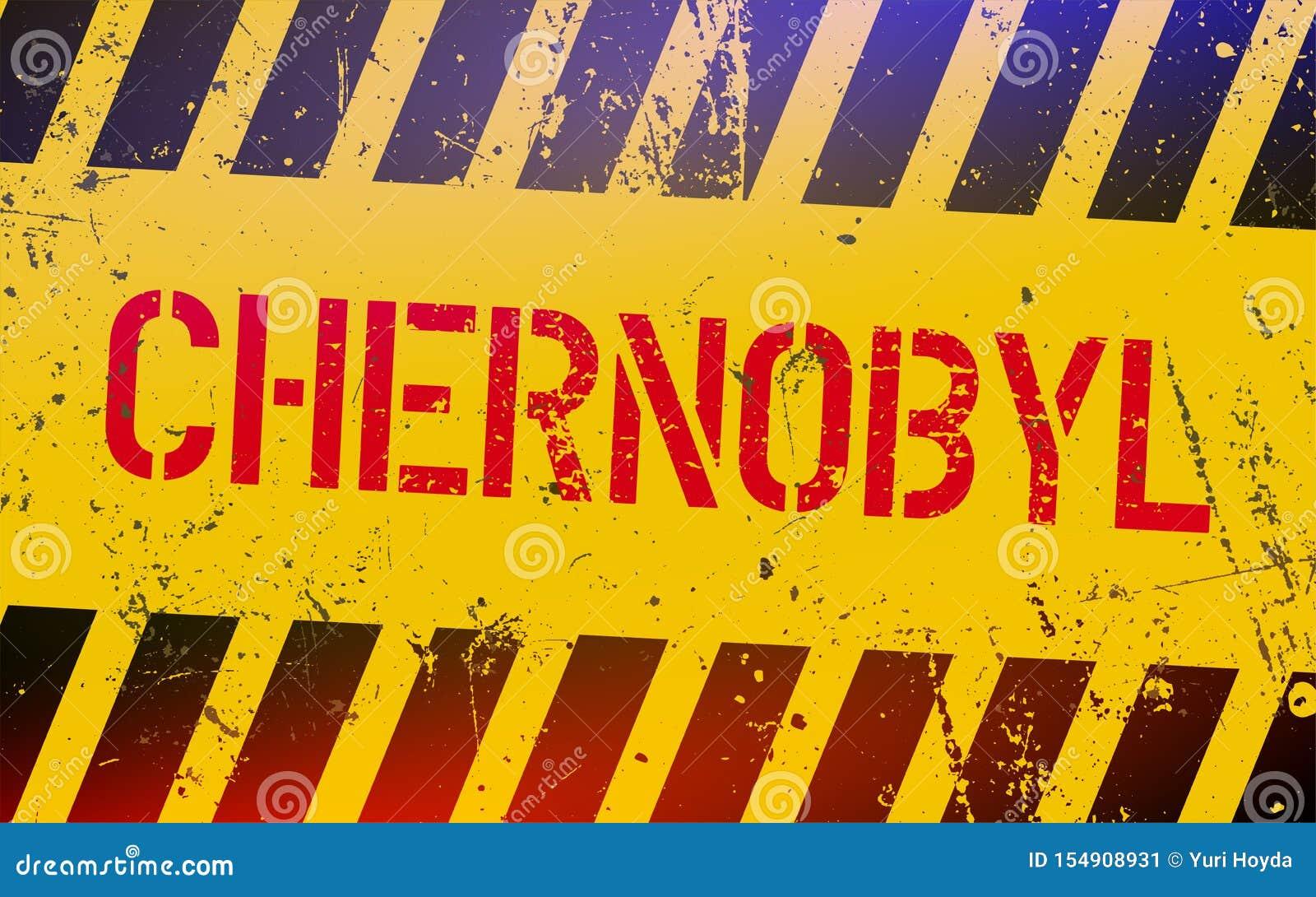 Sinal de aviso de Chernobyl Lugares radioativos em Ucrânia Conceito pot?ncia nuclear Desastres nucleares em União Soviética
