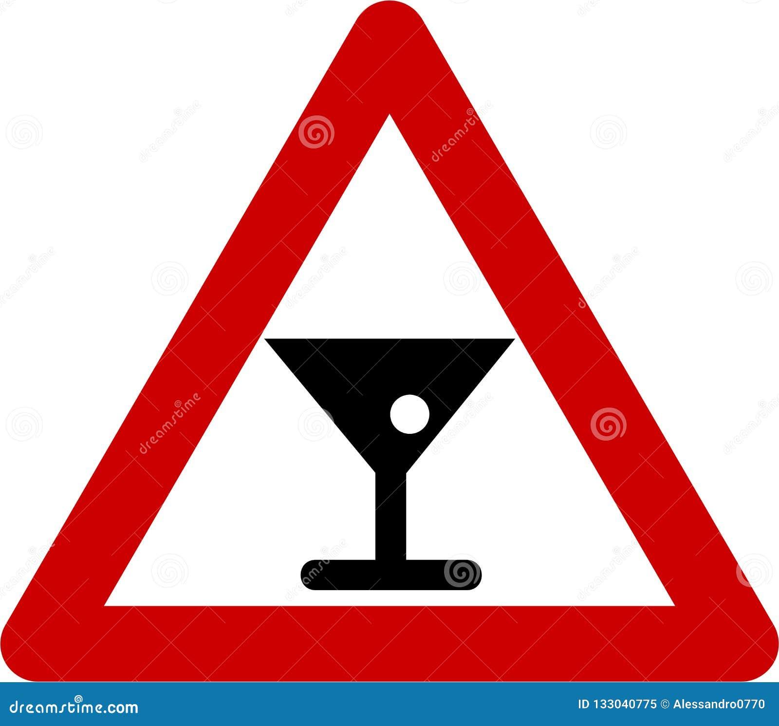 Sinal de aviso com álcool