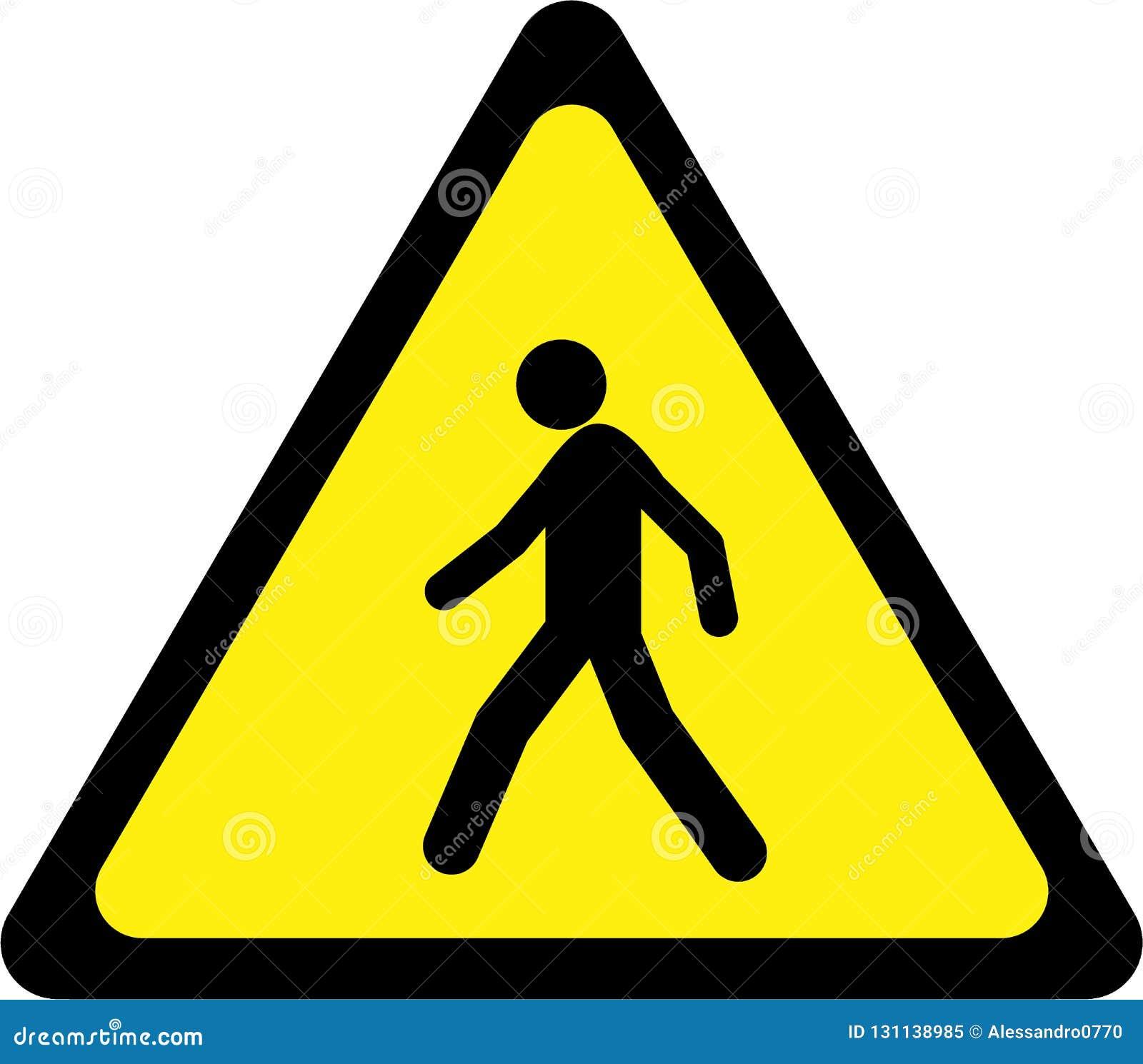 Sinal de aviso com pedestre