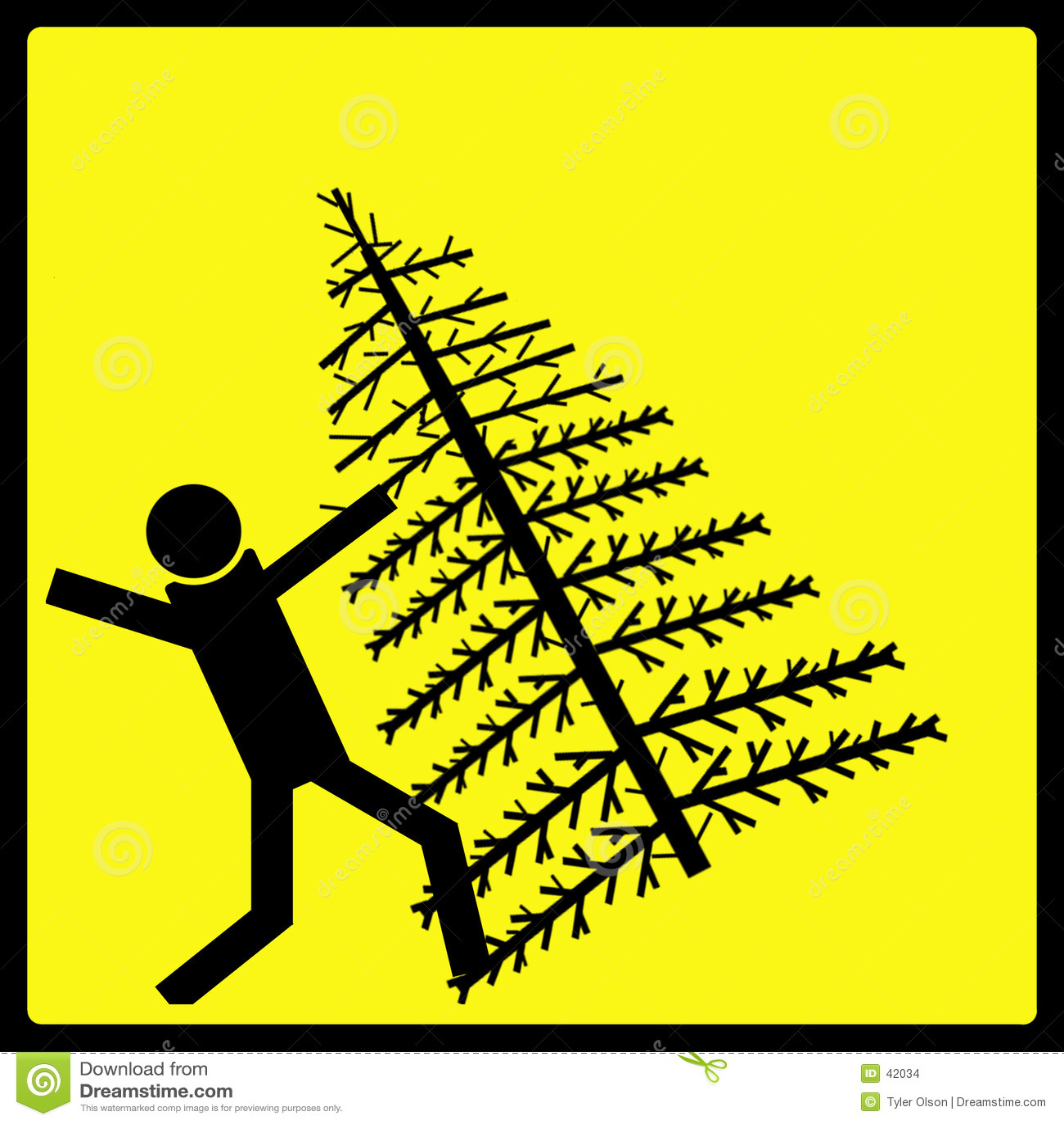 Sinal de aviso de queda da árvore de Natal
