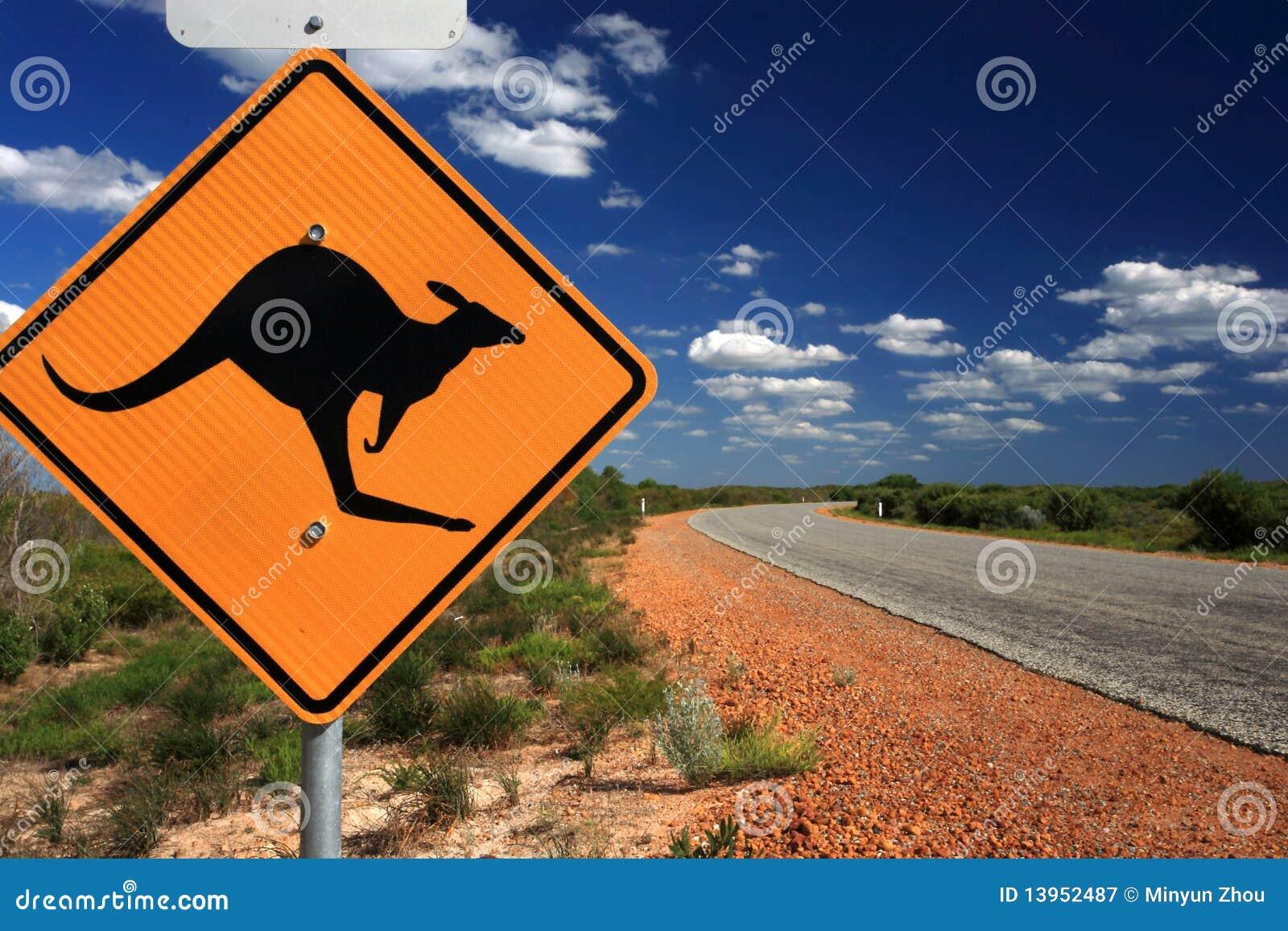 Sinal de aviso do canguru, Austrália ocidental