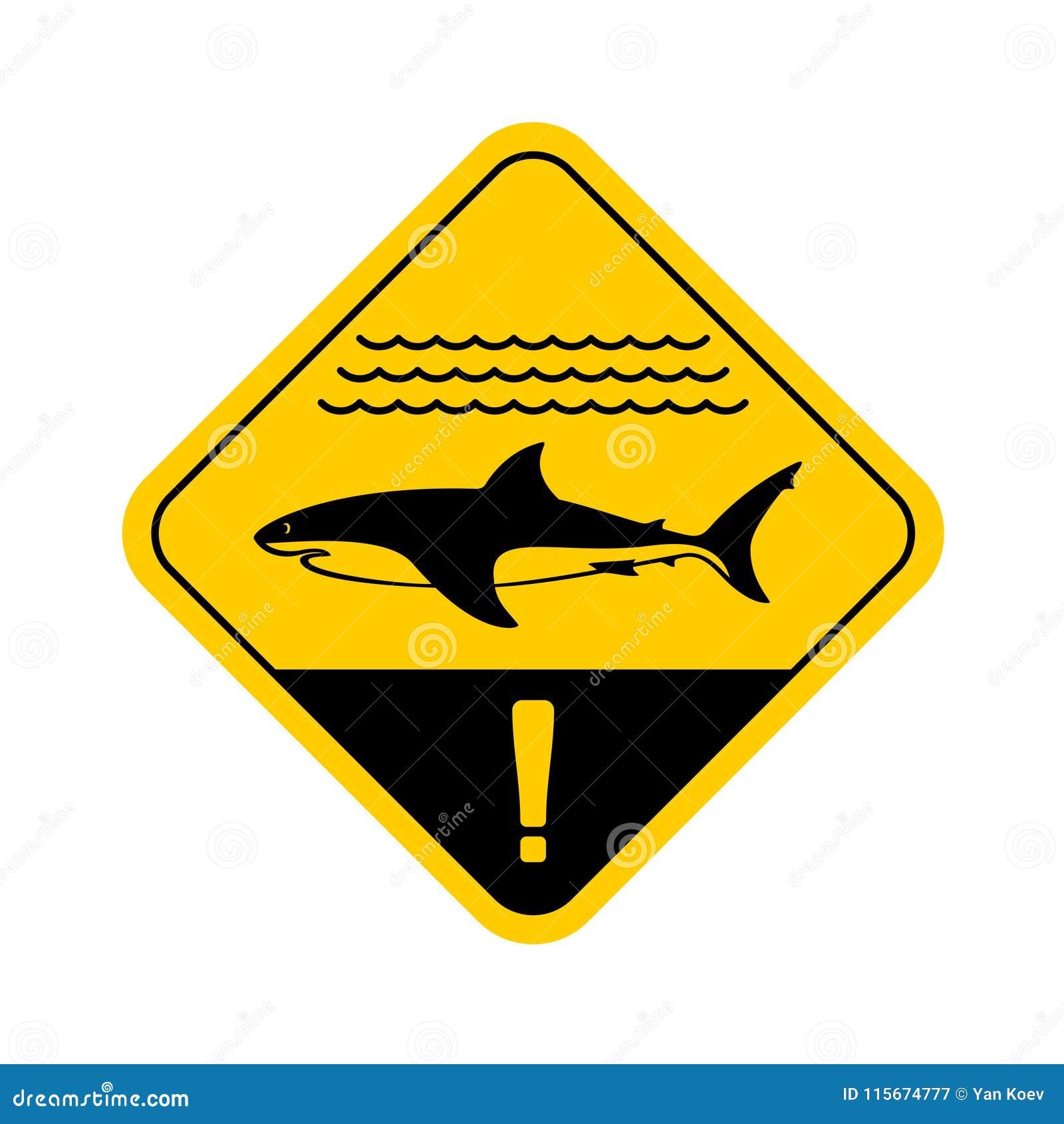 Sinal de aviso do tubarão com ondas do mar