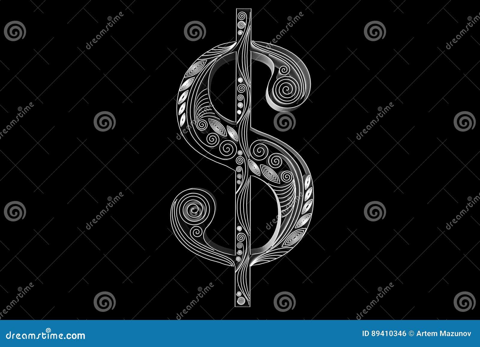 Sinal de dólar de Swirly islolated no preto