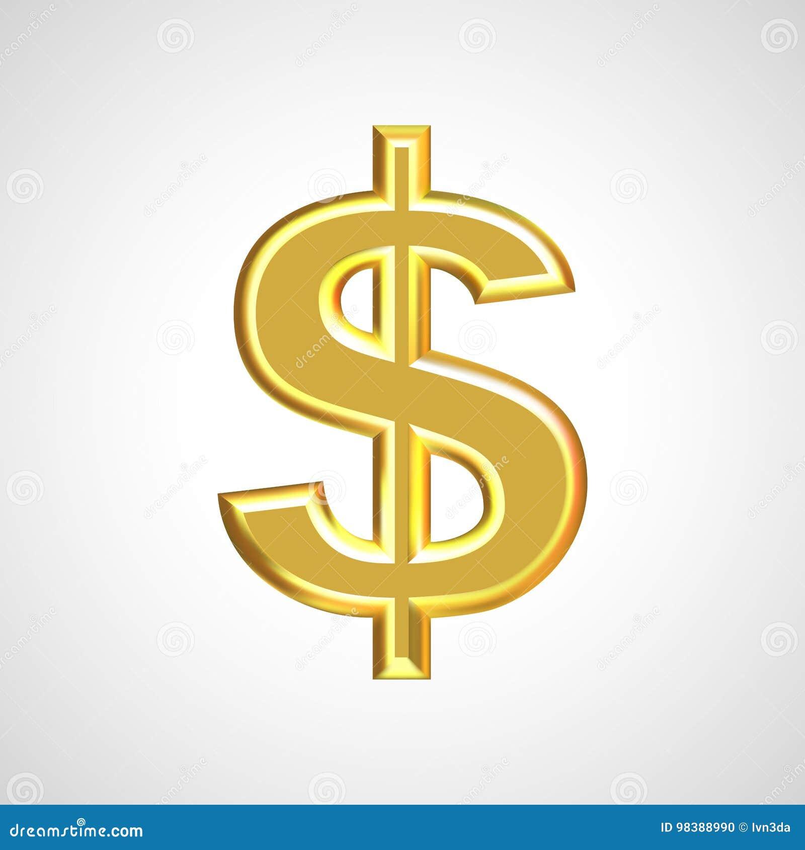 Sinal de dólar/símbolo dourados