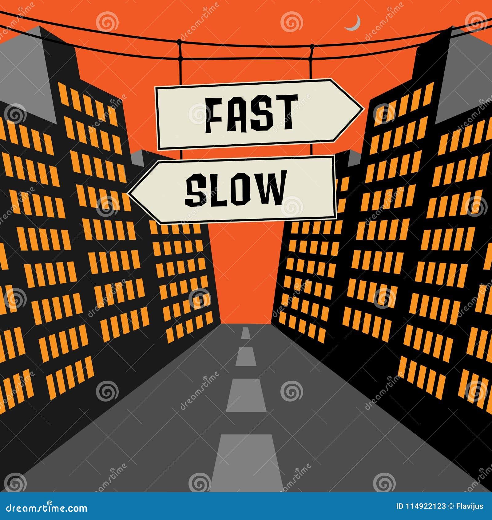 Sinal de estrada com setas opostas e texto rápido - retarde