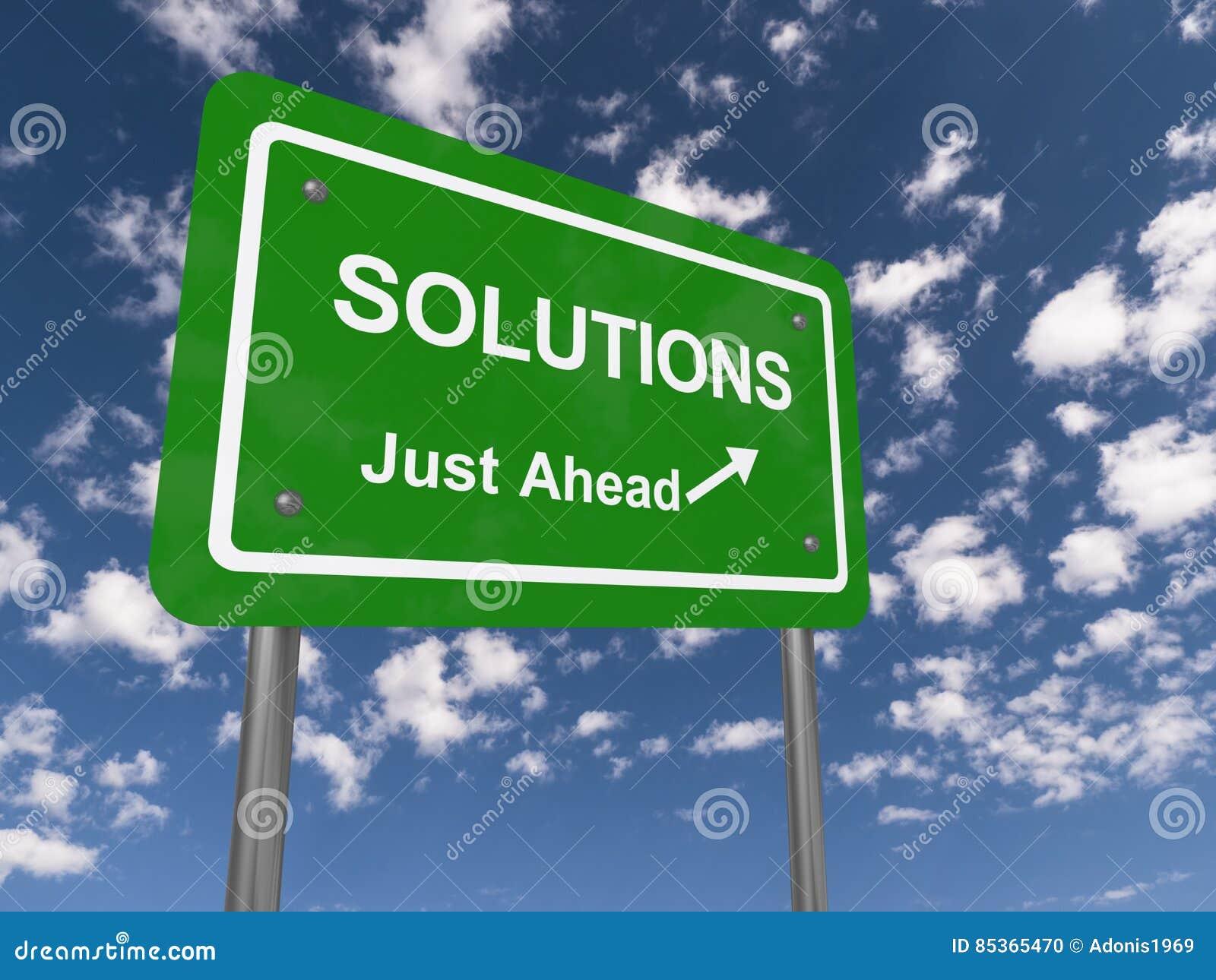 Sinal de estrada das soluções apenas adiante