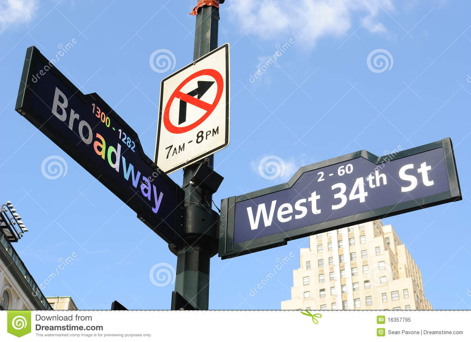 Sinal de estrada de Broadway