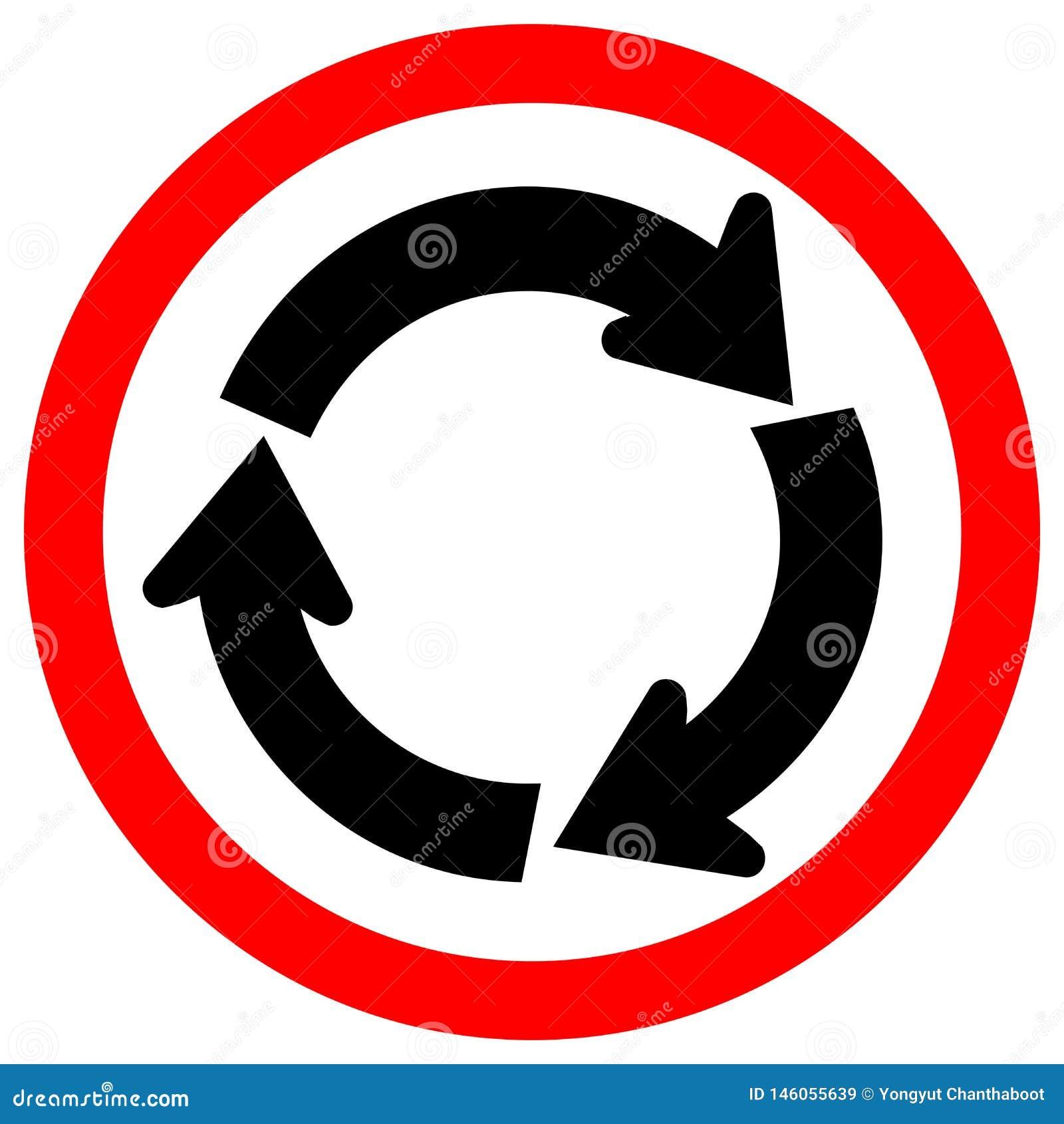Sinal de estrada do tr?fego do carrossel, ilustra??o do vetor, isolado no ?cone branco do fundo EPS10
