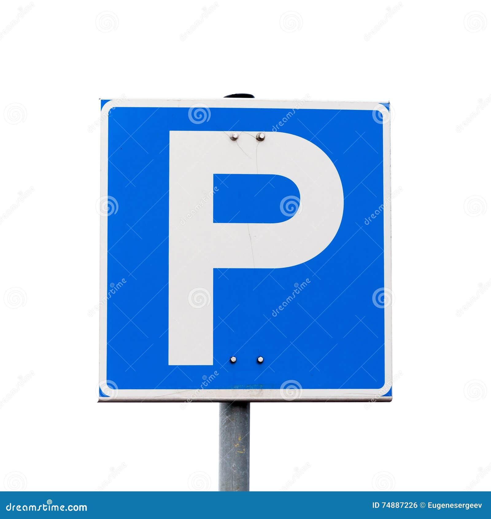 Sinal de estrada quadrado azul do estacionamento isolado no branco