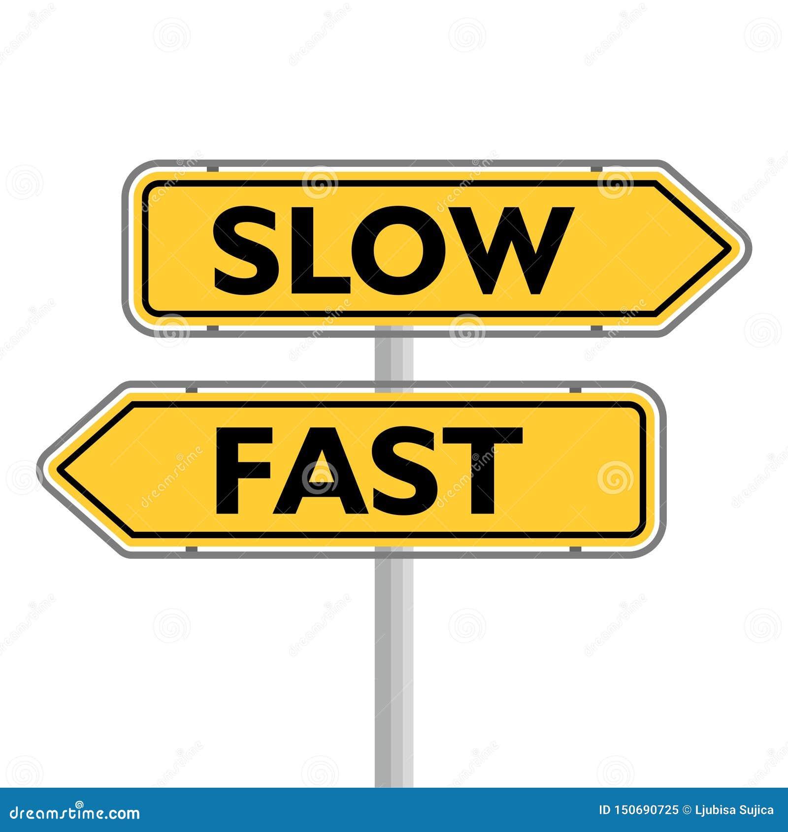 Sinal de estrada rápido ou lento