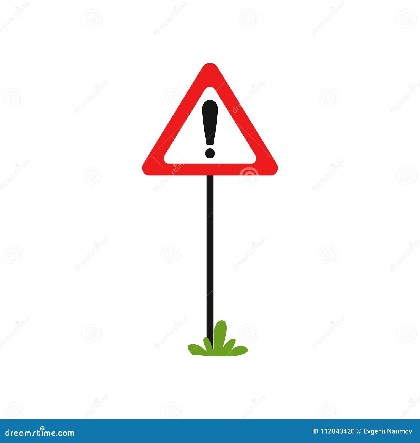 Sinal de estrada triangular com marca de exclamação O sinal de tráfego de advertência indica o perigo adiante Perigo possível Vet