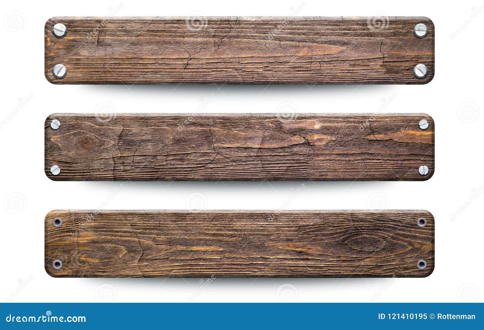 Sinal de madeira áspero velho das pranchas Isolado no branco com trajeto de grampeamento