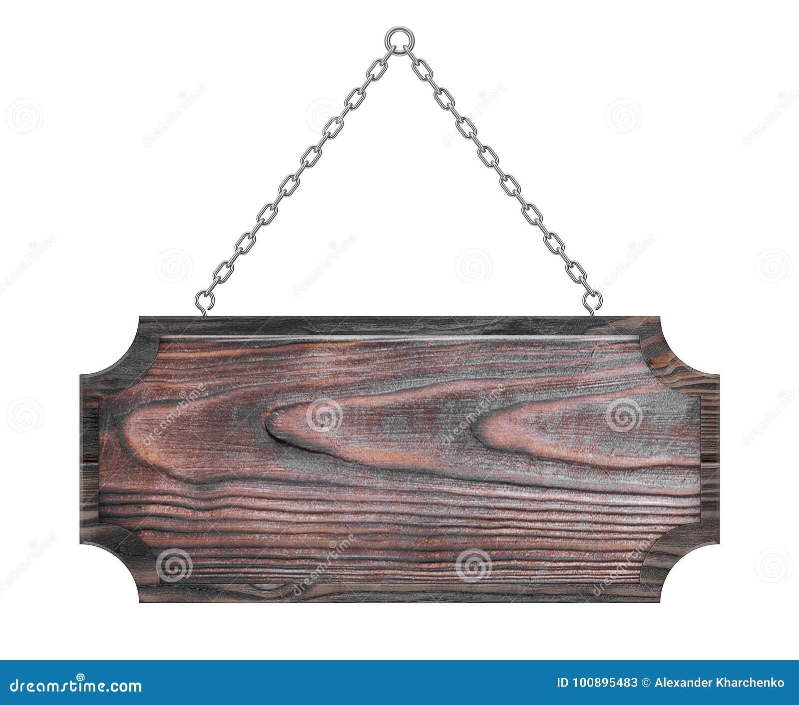 Sinal de madeira com espaço vazio para o vosso projeto que pendura em uma corrente