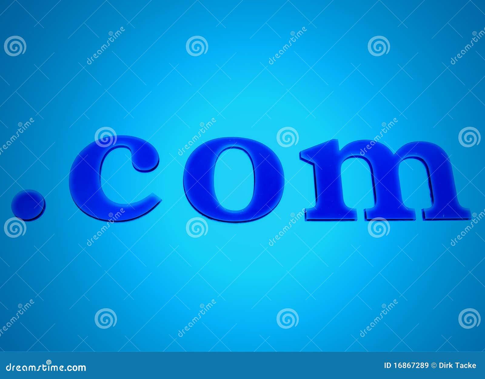 Sinal de néon de incandescência do azul de .com