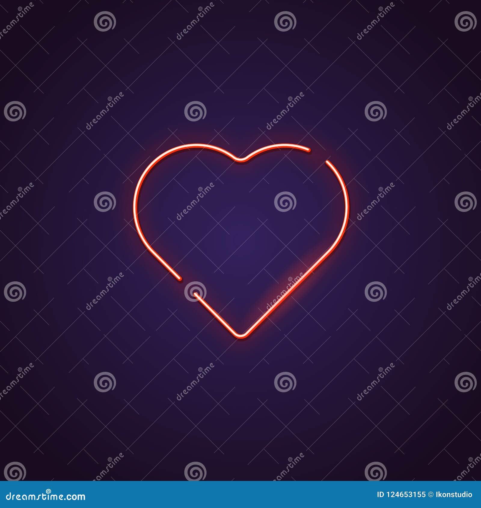 Sinal de néon do coração