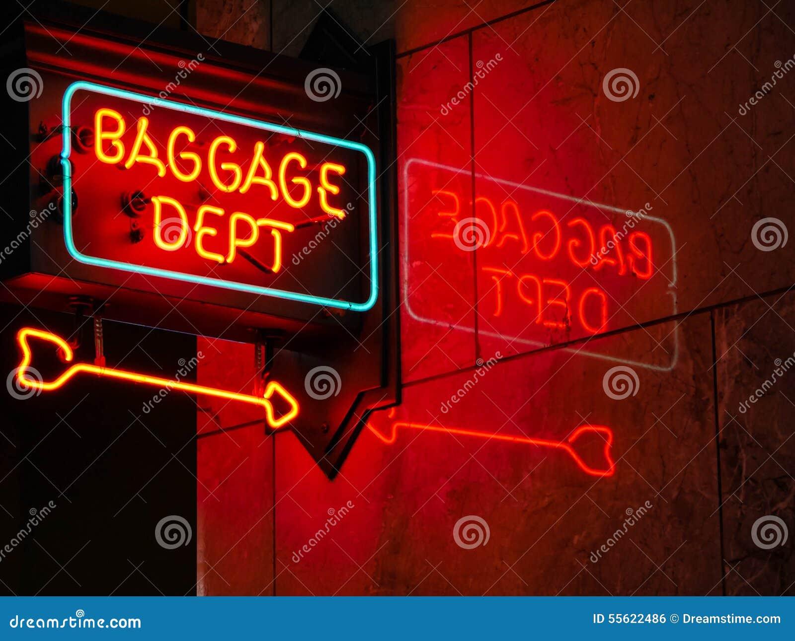 Sinal de néon do departamento da bagagem