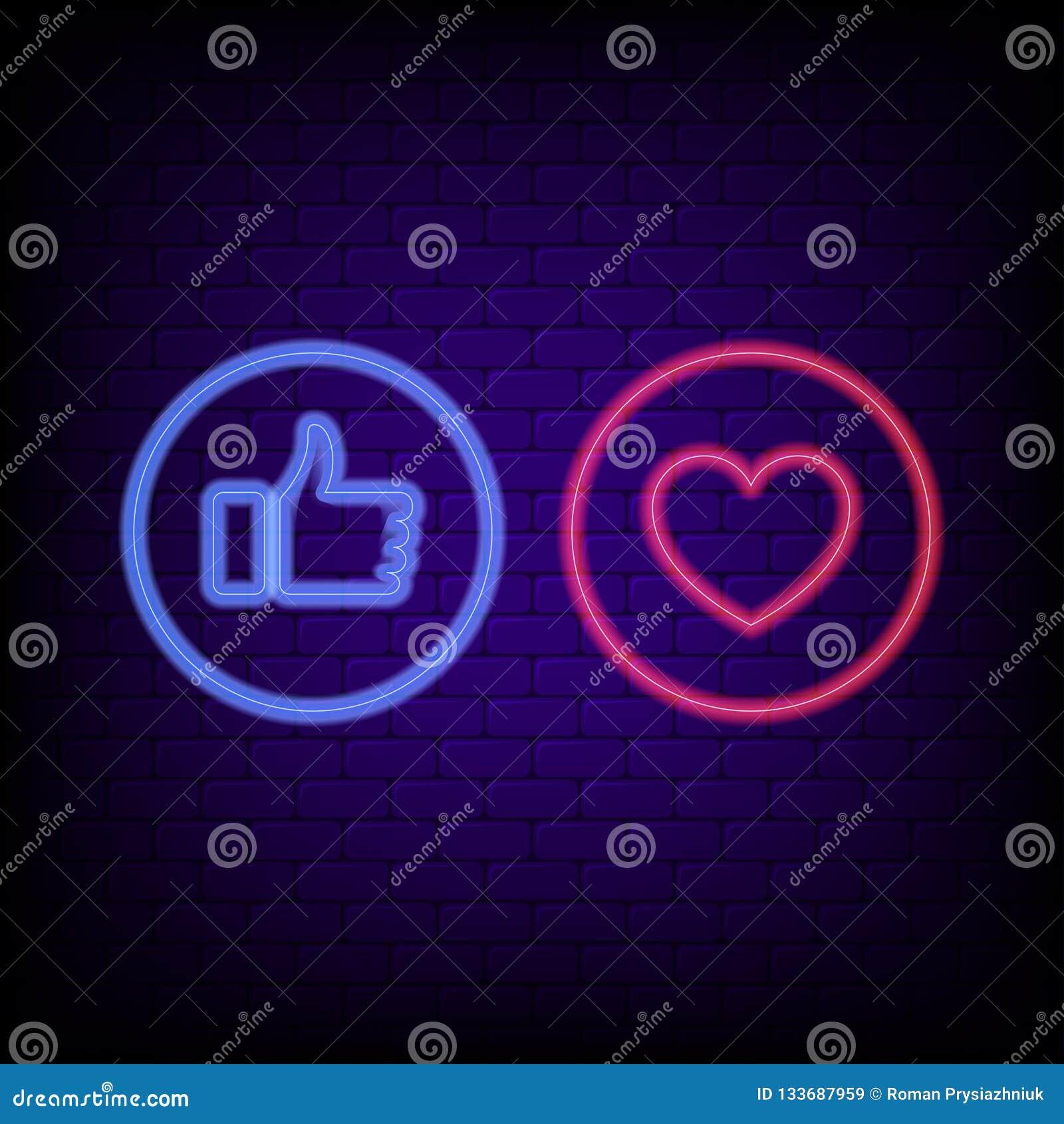 Sinal de néon do gosto e do coração Polegares azuis de néon brilhantes acima e coração vermelho, bandeira da noite do conceito so