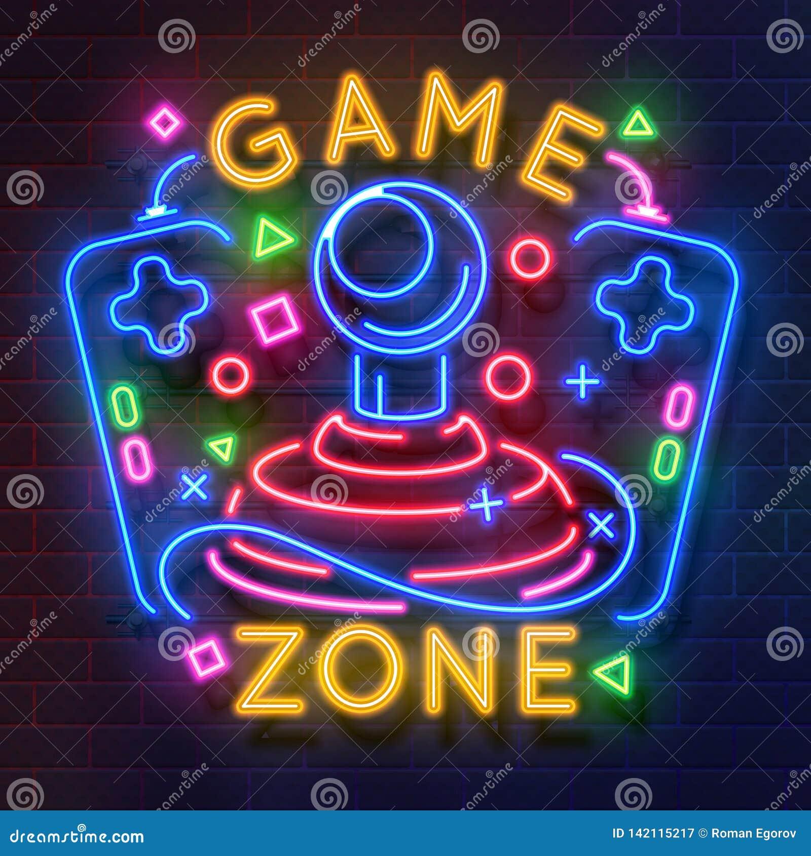 Sinal de néon do jogo retro Símbolo da luz da noite dos jogos de vídeo, cartaz de incandescência do gamer, bandeira do clube do j